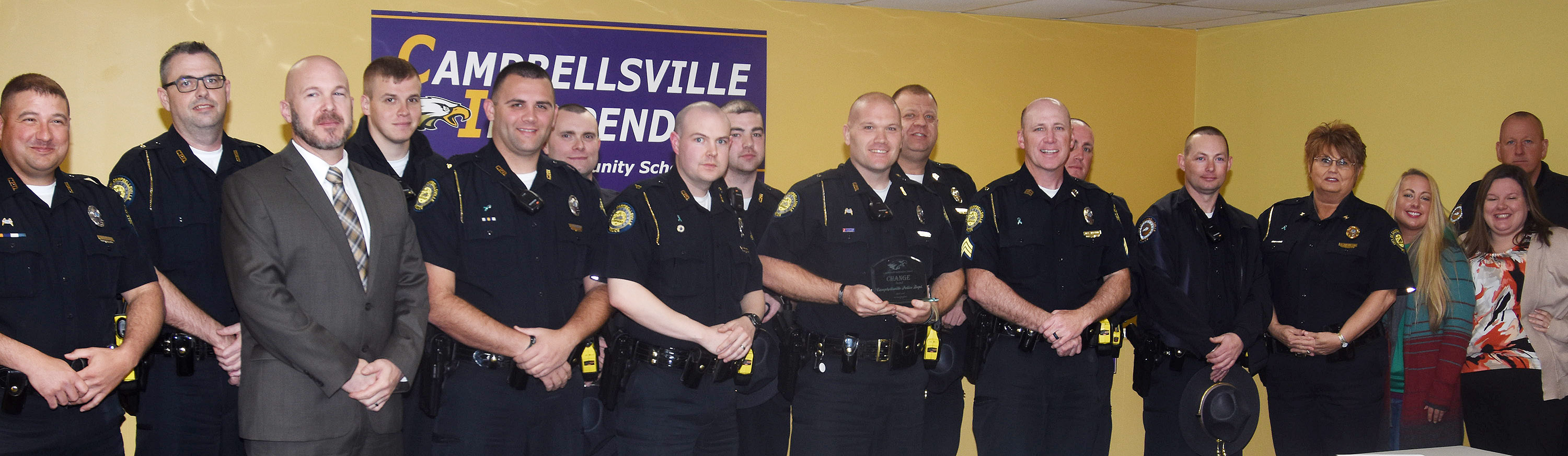 Campbellsville Independent Schools Superintendent Kirby Smith honored community partner Campbellsville Police with the community Change Award.