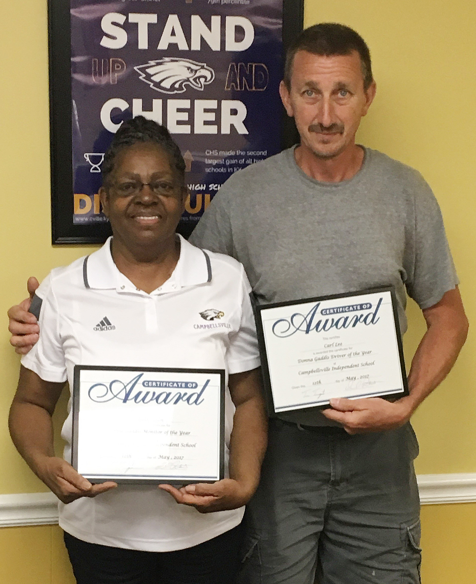 Ruth Allen received this year's Donna Gaddis Bus Monitor of the Year award. And Carl Lee received the Donna Gaddis Driver of the Year award.