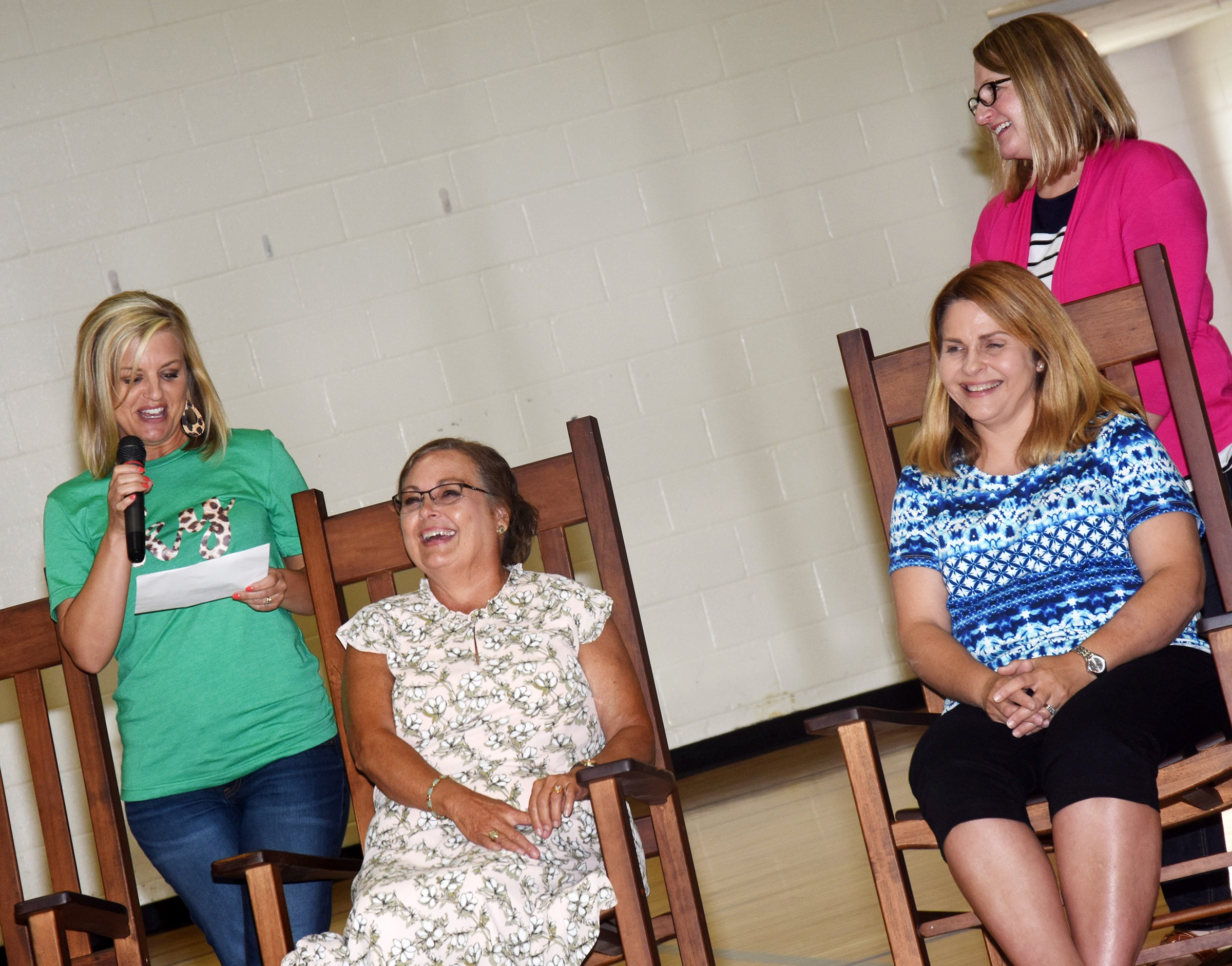 CIS retirees are honored after a luncheon to close the 2017-2018 school year. Seated are CES media center assistant Lois Kemp, at left, and CES Guidance Counselor Sonya Orberson. CES teacher Leanna Cundiff, at left, spoke about working with Kemp and CES teacher Laura Dicken spoke about her memories of Orberson.