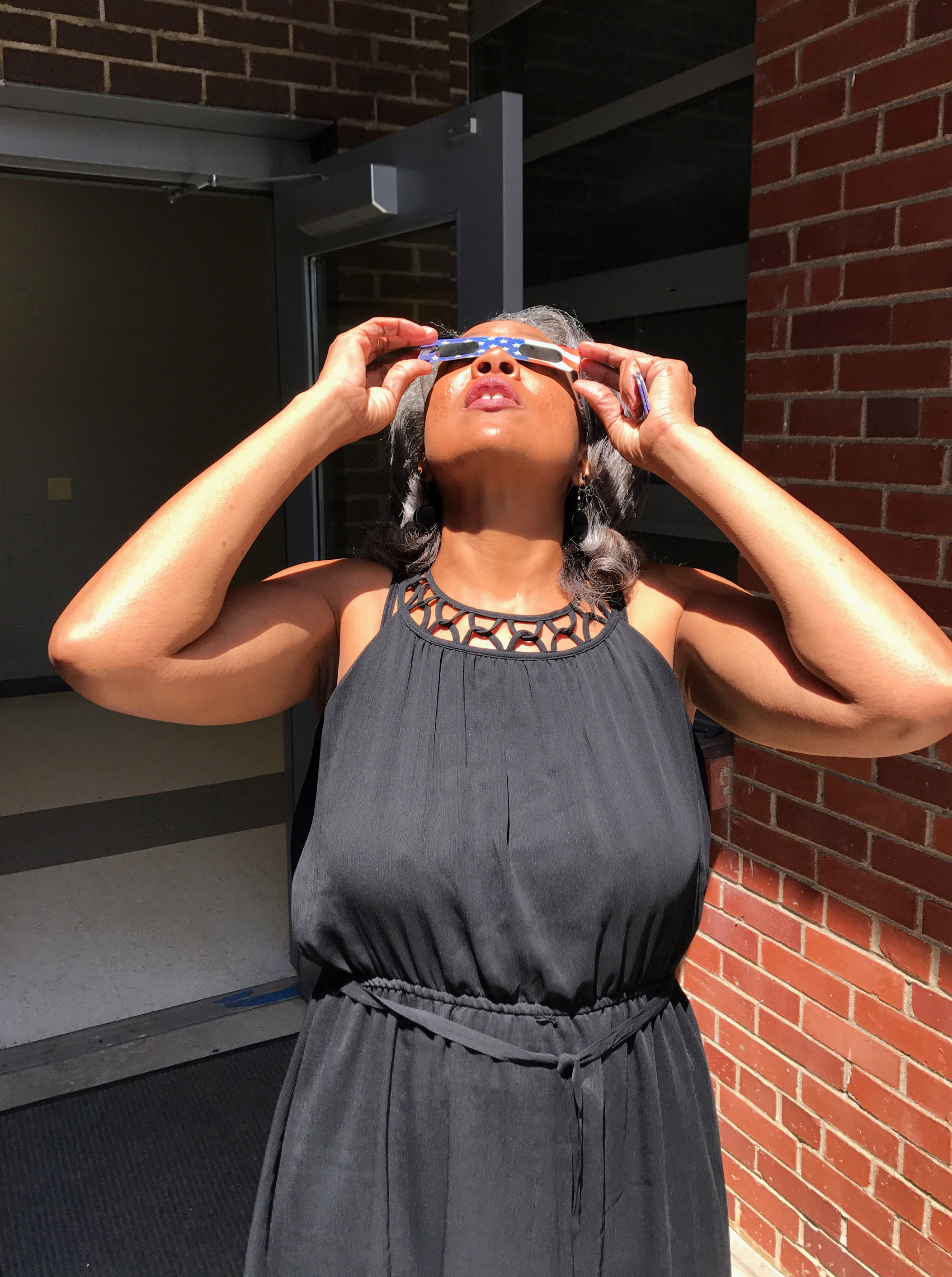 CES Assistant Principal Doretha Sanders views the eclipse.