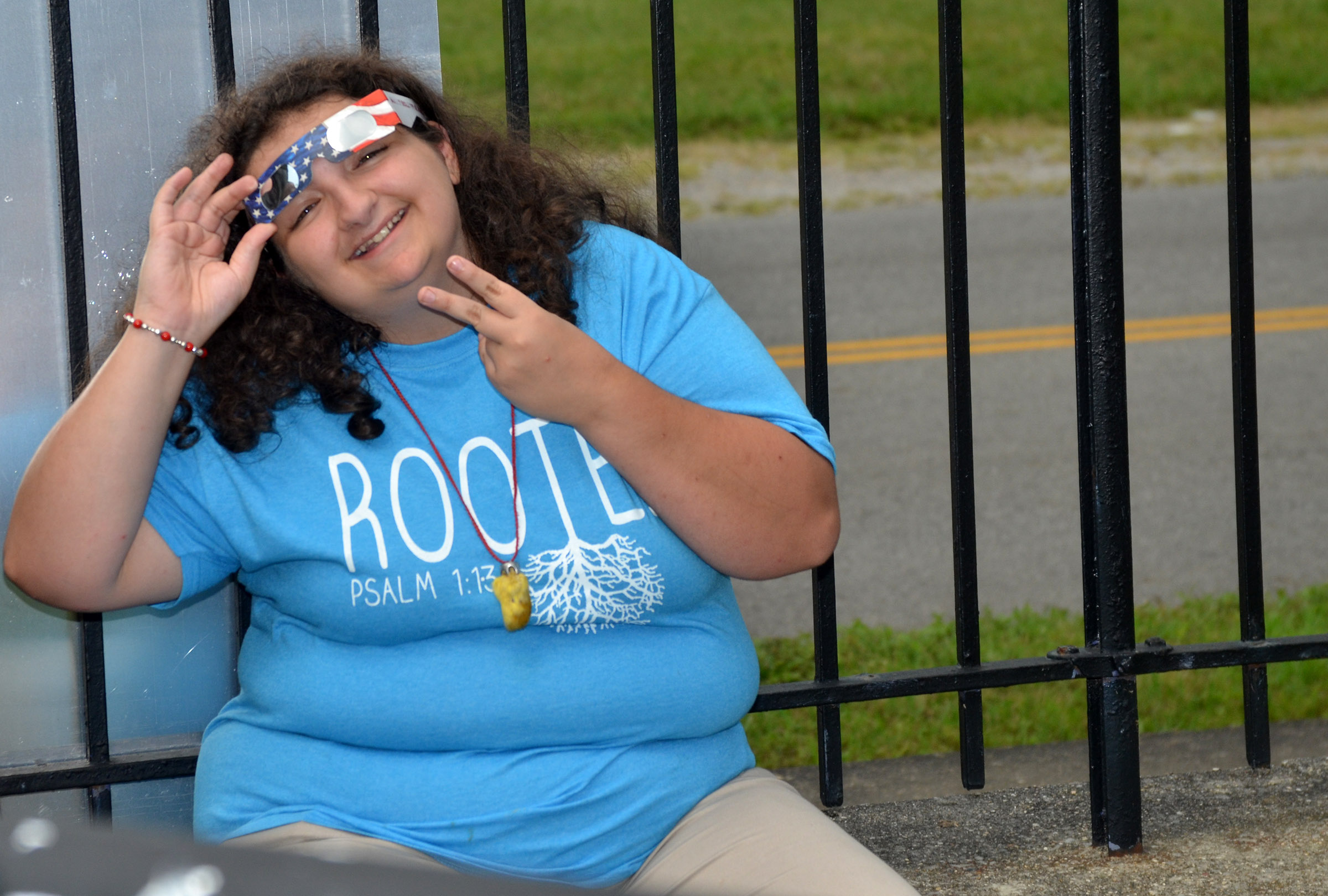 CHS junior Brooke Tucker views the eclipse.