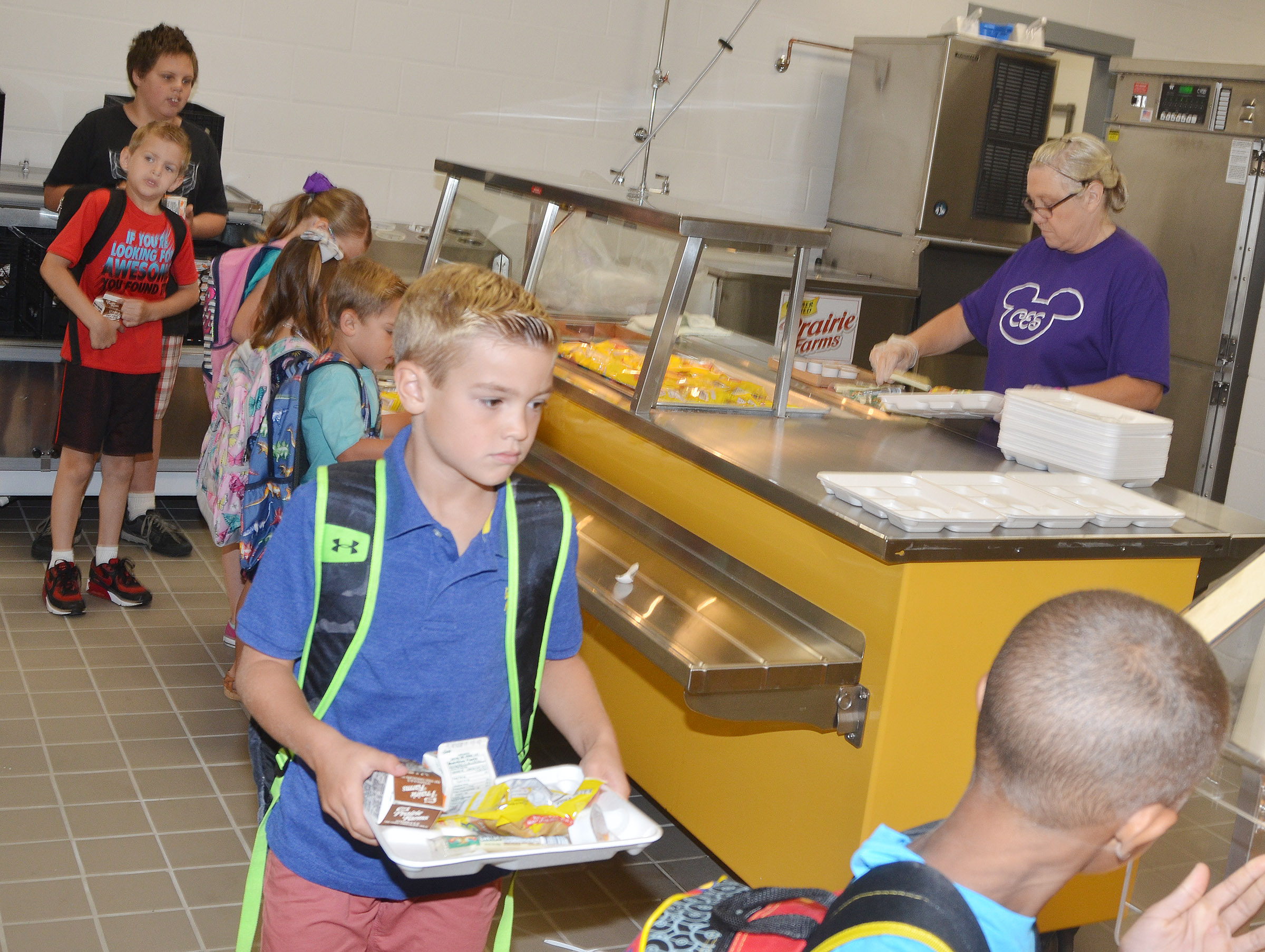 CES students get breakfast on the first day of school.
