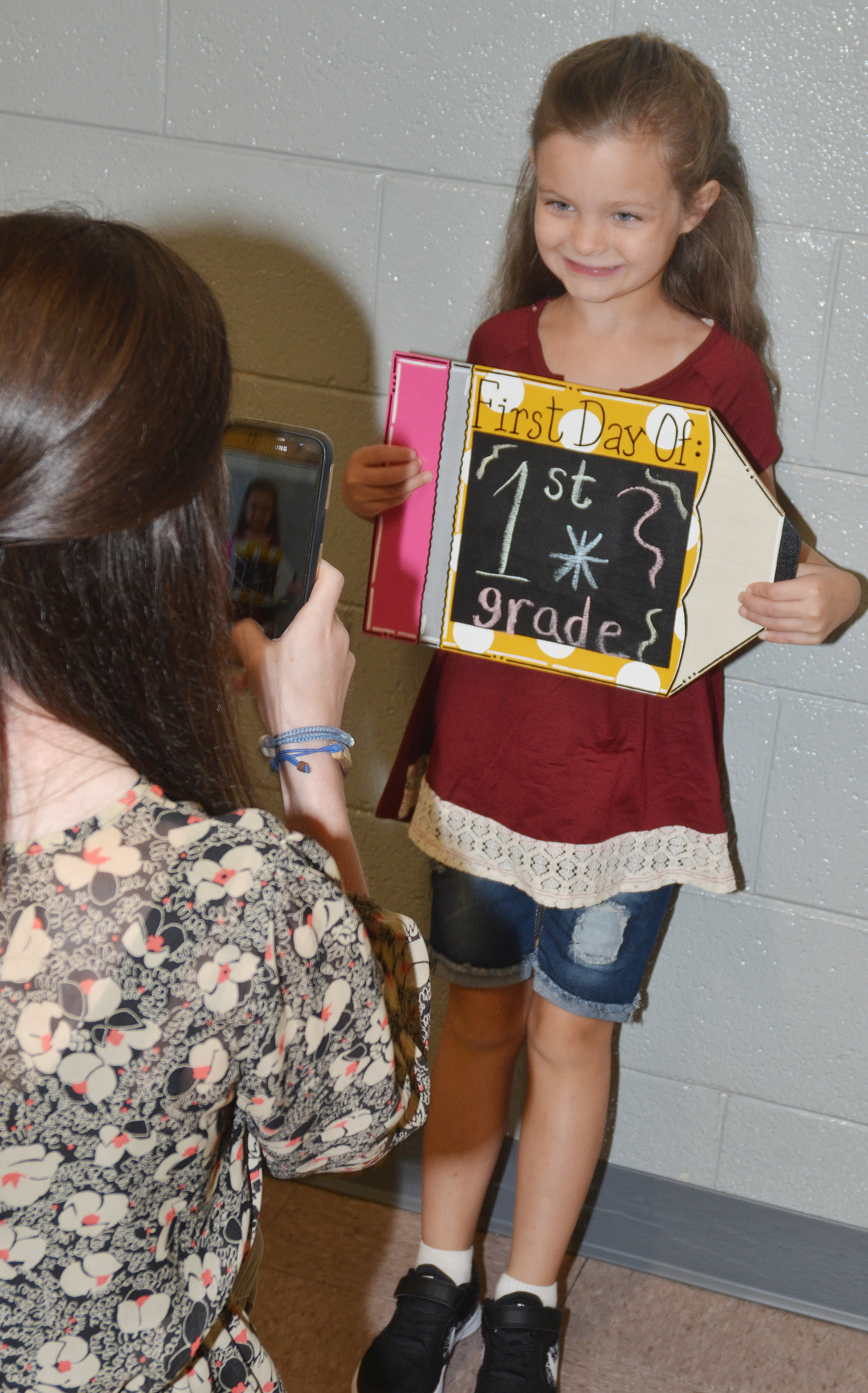 CES first-grader Addison Perkins poses for a photo on her first day of school.