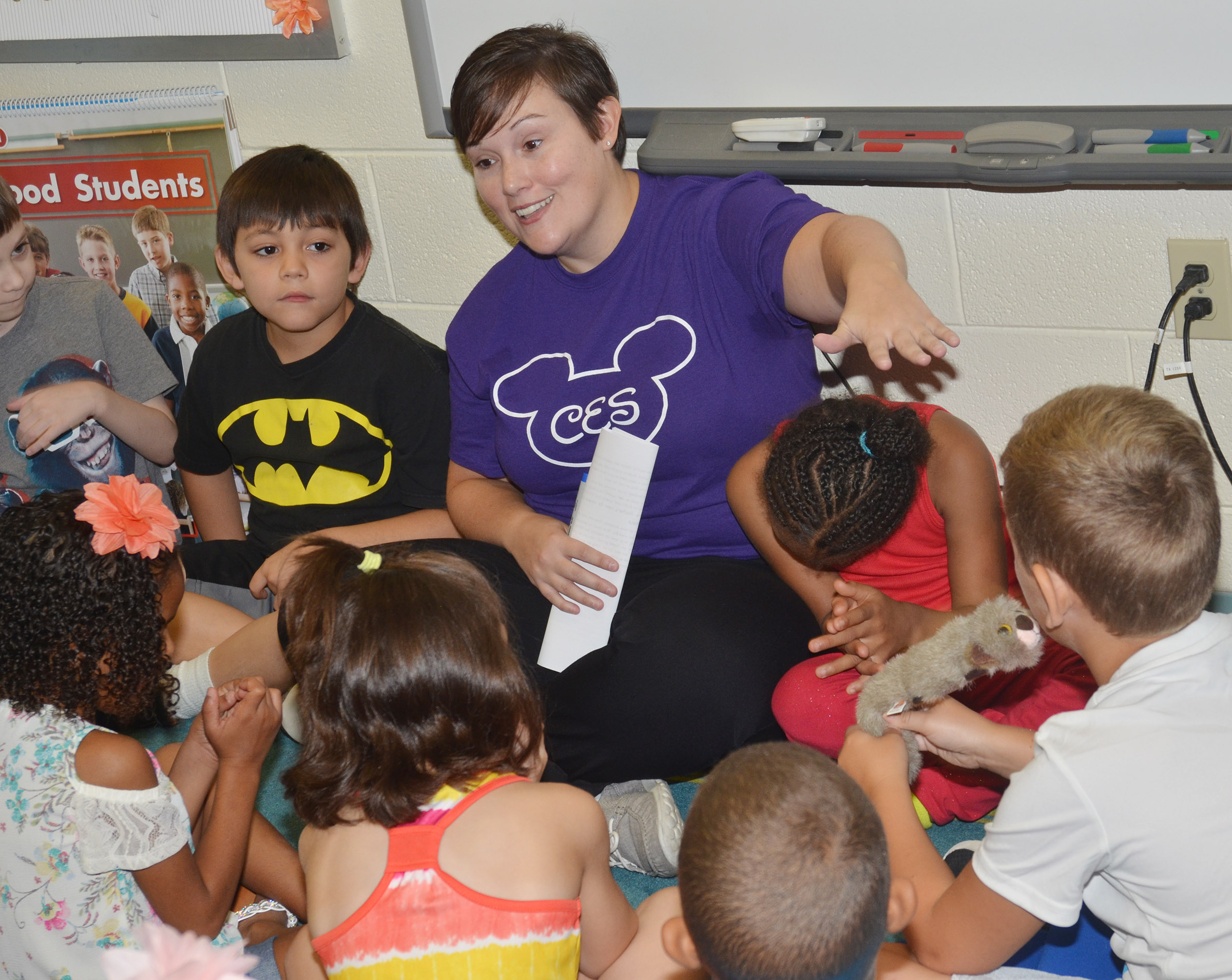 CES first-grade teacher Amanda Barnett gets to know her students.