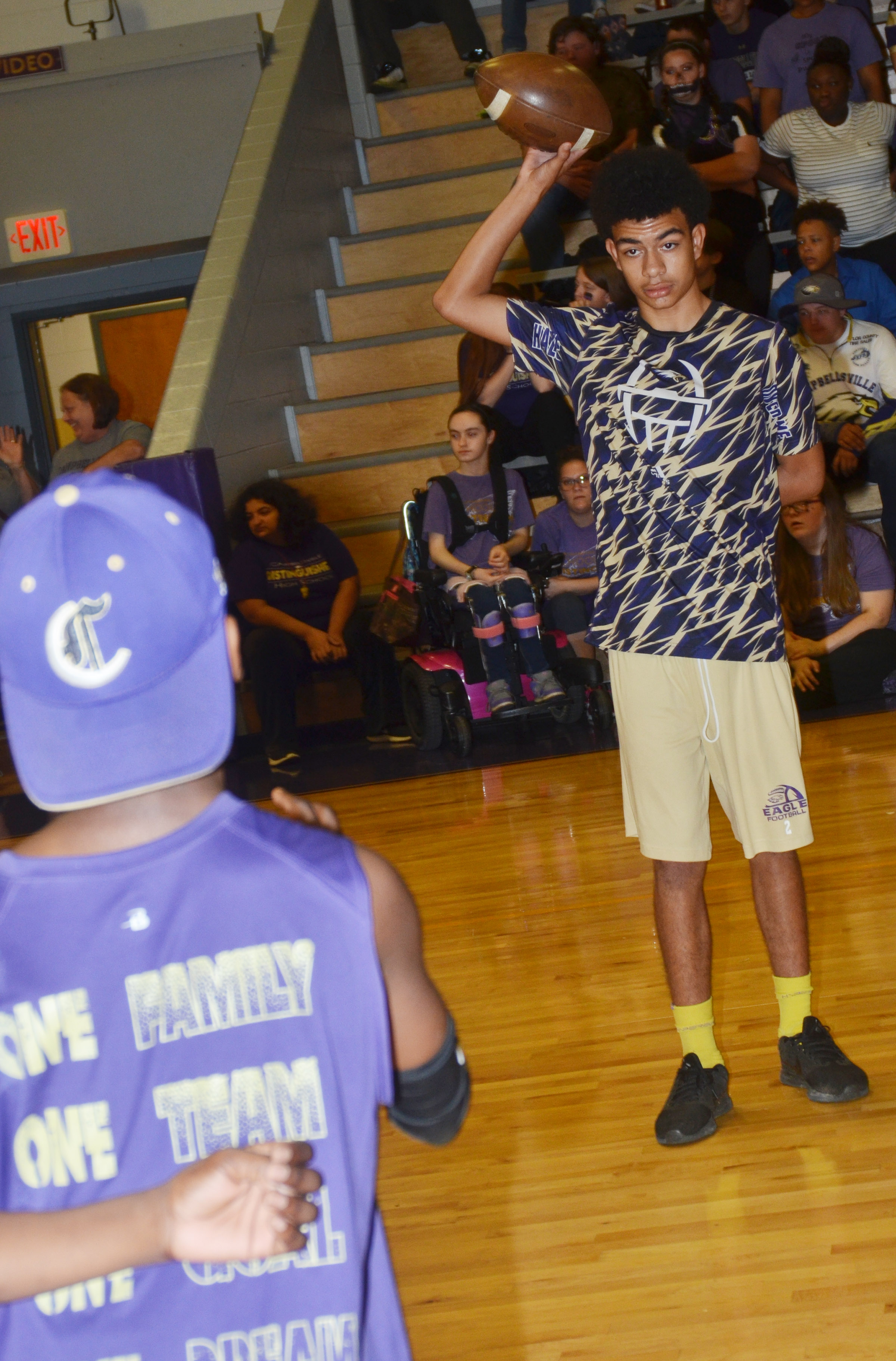 CMS eighth-grader Adrien Smith competes in a spirit game.
