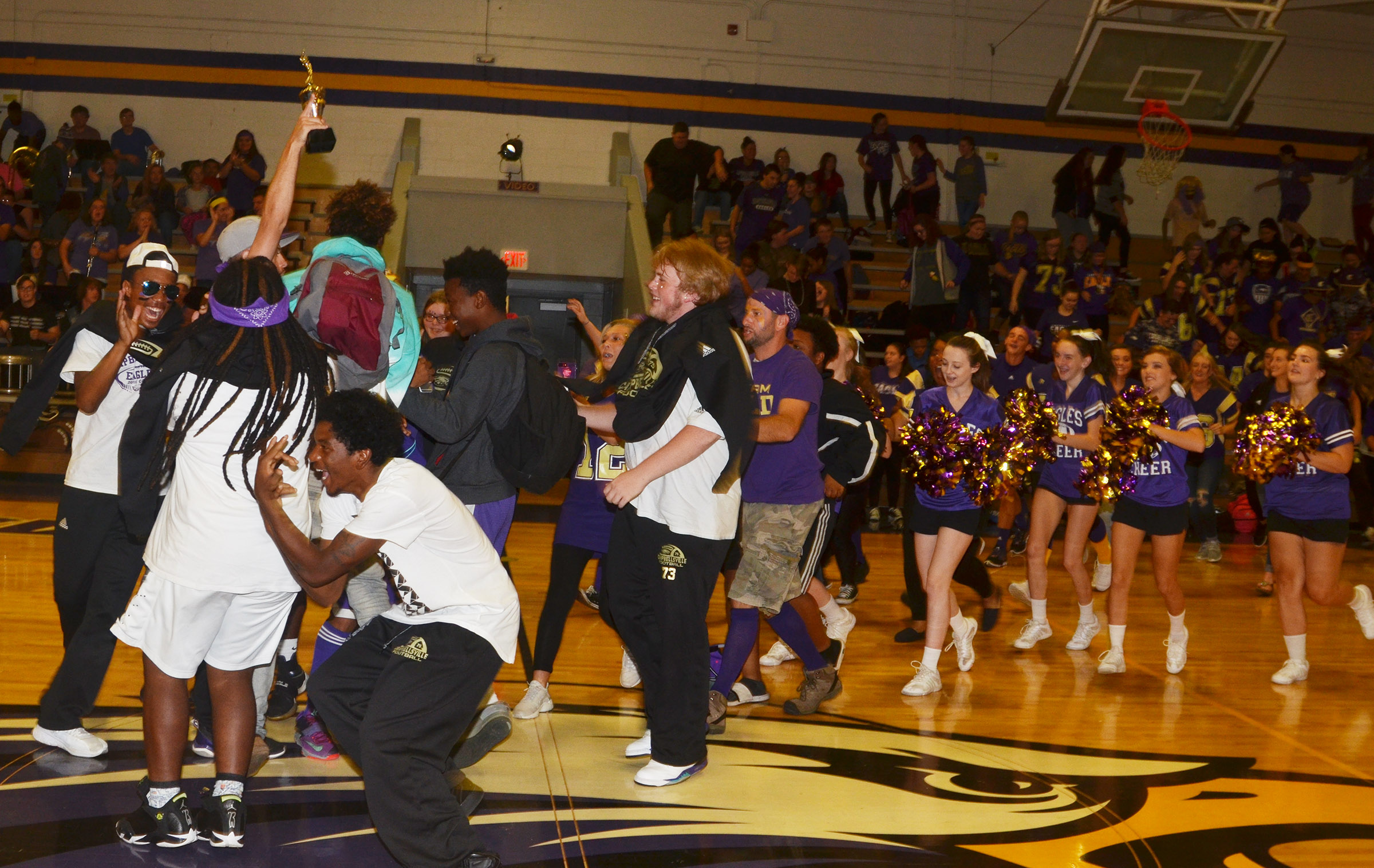 CHS students cheer as they are announced as the winners of this year's spirit stick.