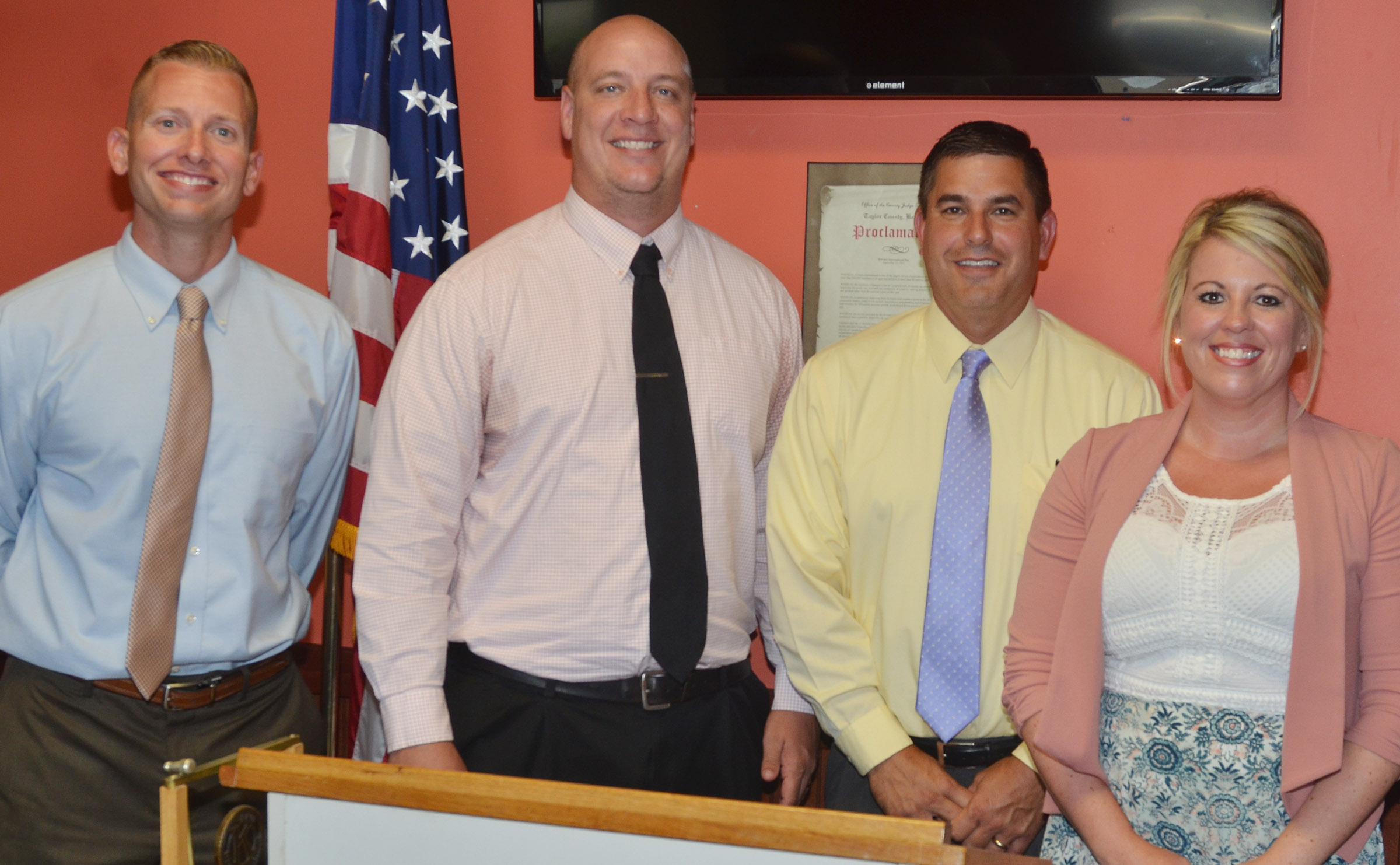 Campbellsville Independent Schools' has placed new leaders at all of its schools this year. From left are CMS Principal Zach Lewis, CHS Principal David Petett, Superintendent Kirby Smith and CES Principal Elisha Rhodes.