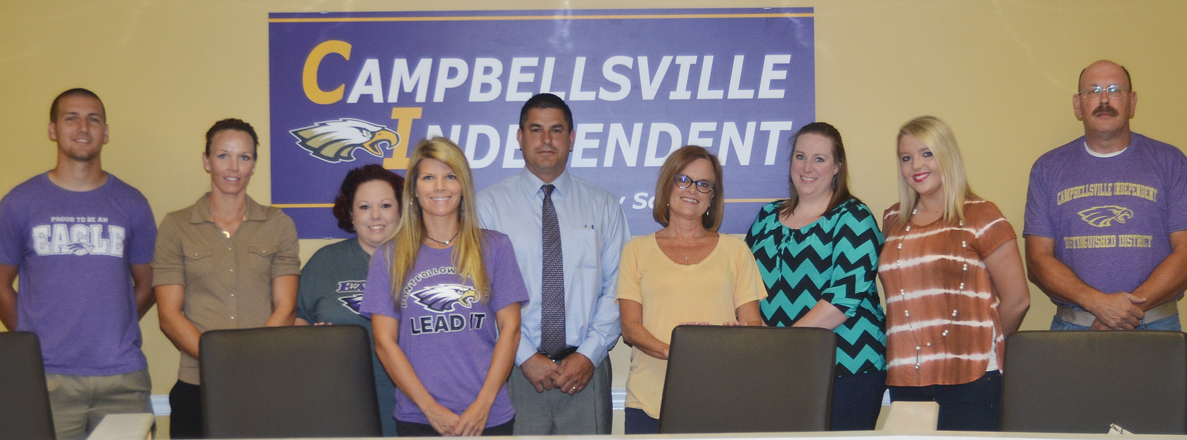 Campbellsville Independent Schools has hired several new teachers and staff members to help make the new school year a success. New employees attending orientation on Thursday, Aug. 3, are, from left, Zach Durham, CES instructional assistant; Tasha Phillips Goff, CHS instructional assistant; B.J. Perkins, bus monitor/cafeteria worker/custodial worker; Andrea Gribbins, CMS teacher; Kirby Smith, superintendent; CHS teacher Mary Jo Hazel; CES preschool teacher Julie Shelton; CES teacher Keri Rowe; and custodian James Cheuvront. Absent from the photo is custodian Thomas Phillips.