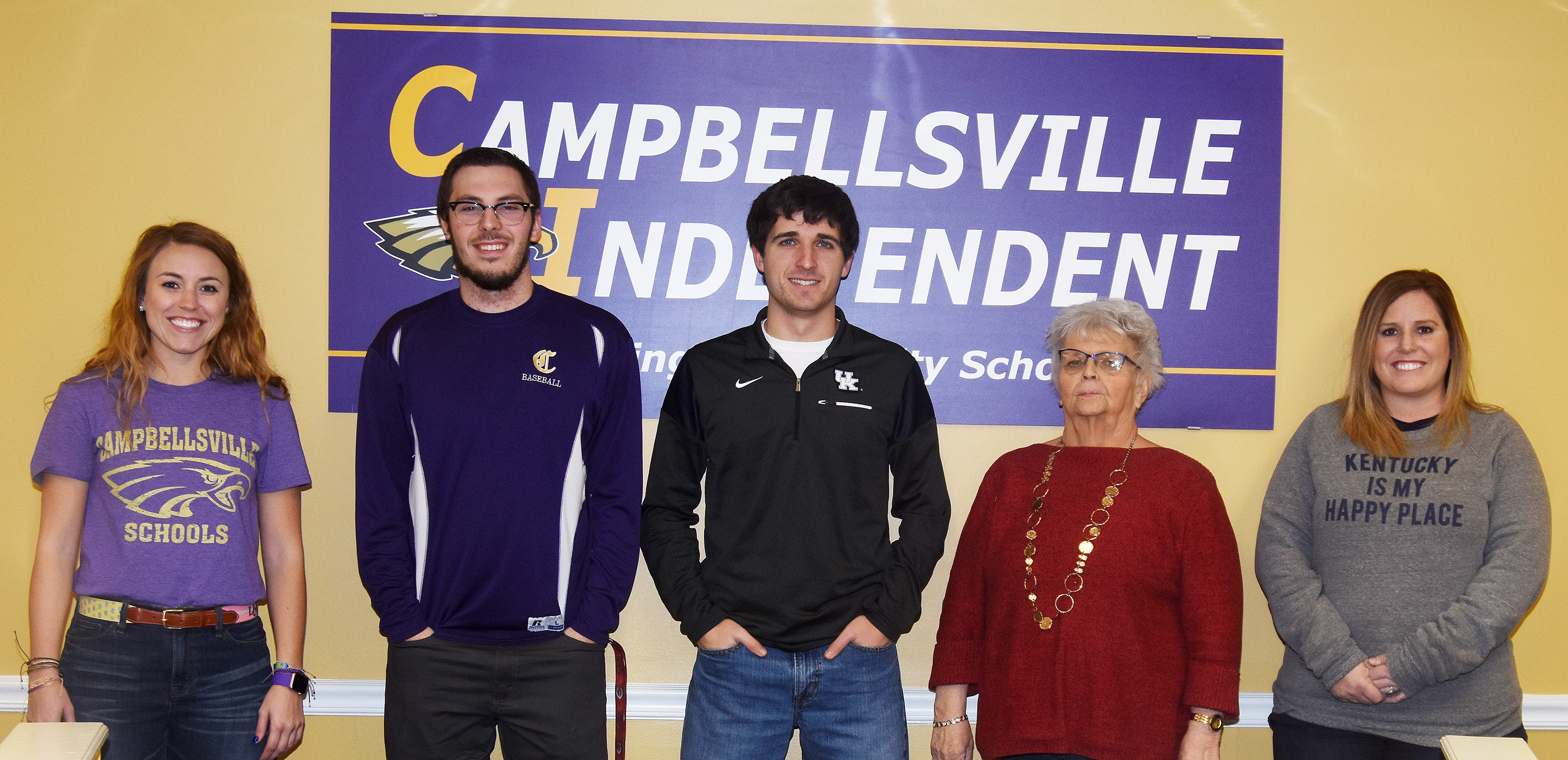 Campbellsville Independent Schools recently added five employees to the Eagle family. From left are LeeAnn Grider, sixth- and seventh-grade math teacher at Campbellsville Middle School; Weston Horn, instructional assistant at Campbellsville Elementary School; Jacob Burdette, virtual lab instructor at Campbellsville High School; Judy Cox, media center assistant at CES; and Rebecca Lawless, attendance clerk at CHS.