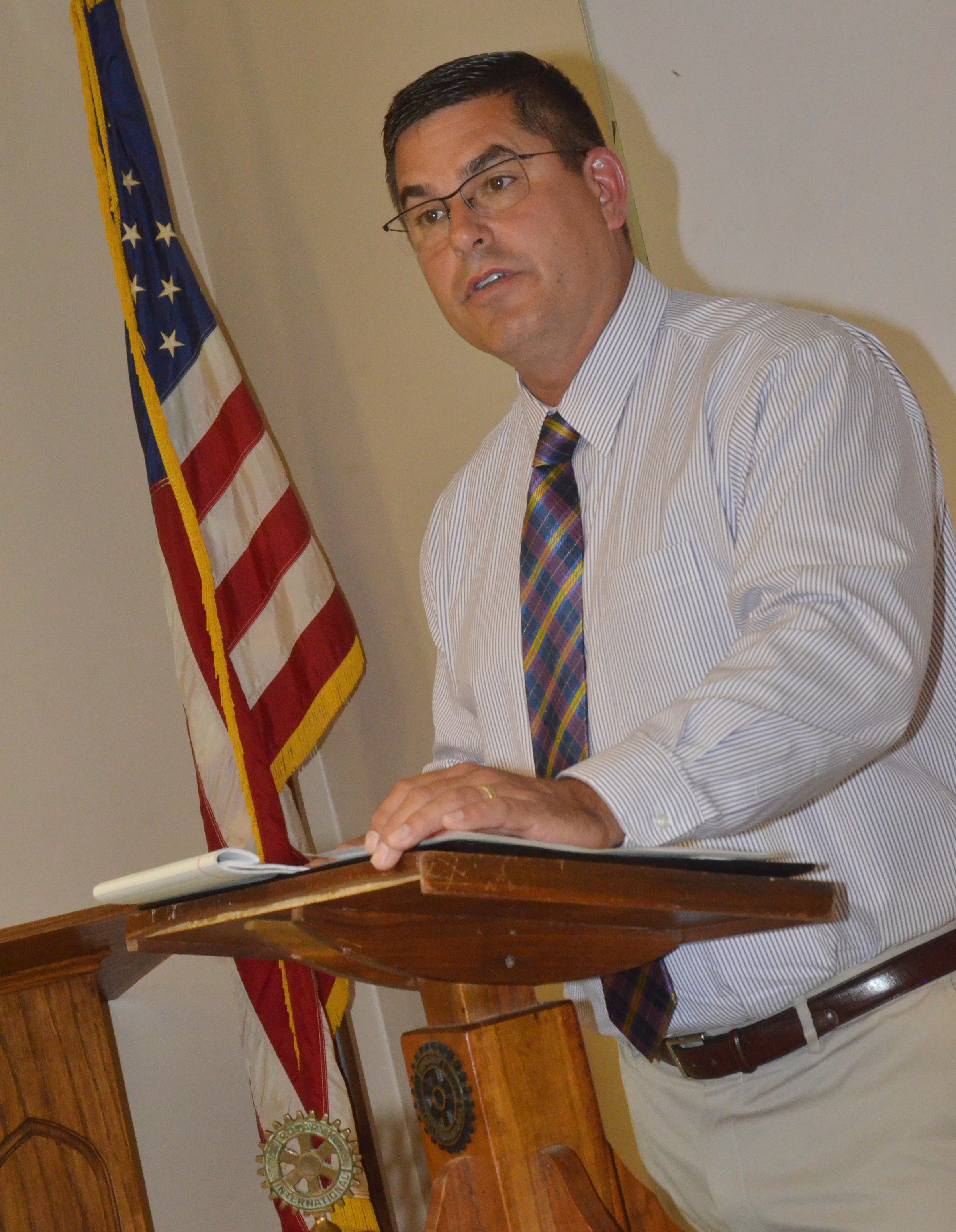 Campbellsville Independent Schools Superintendent Kirby Smith recently spoke to Campbellsville Rotary Club members about the great happenings at his school system.