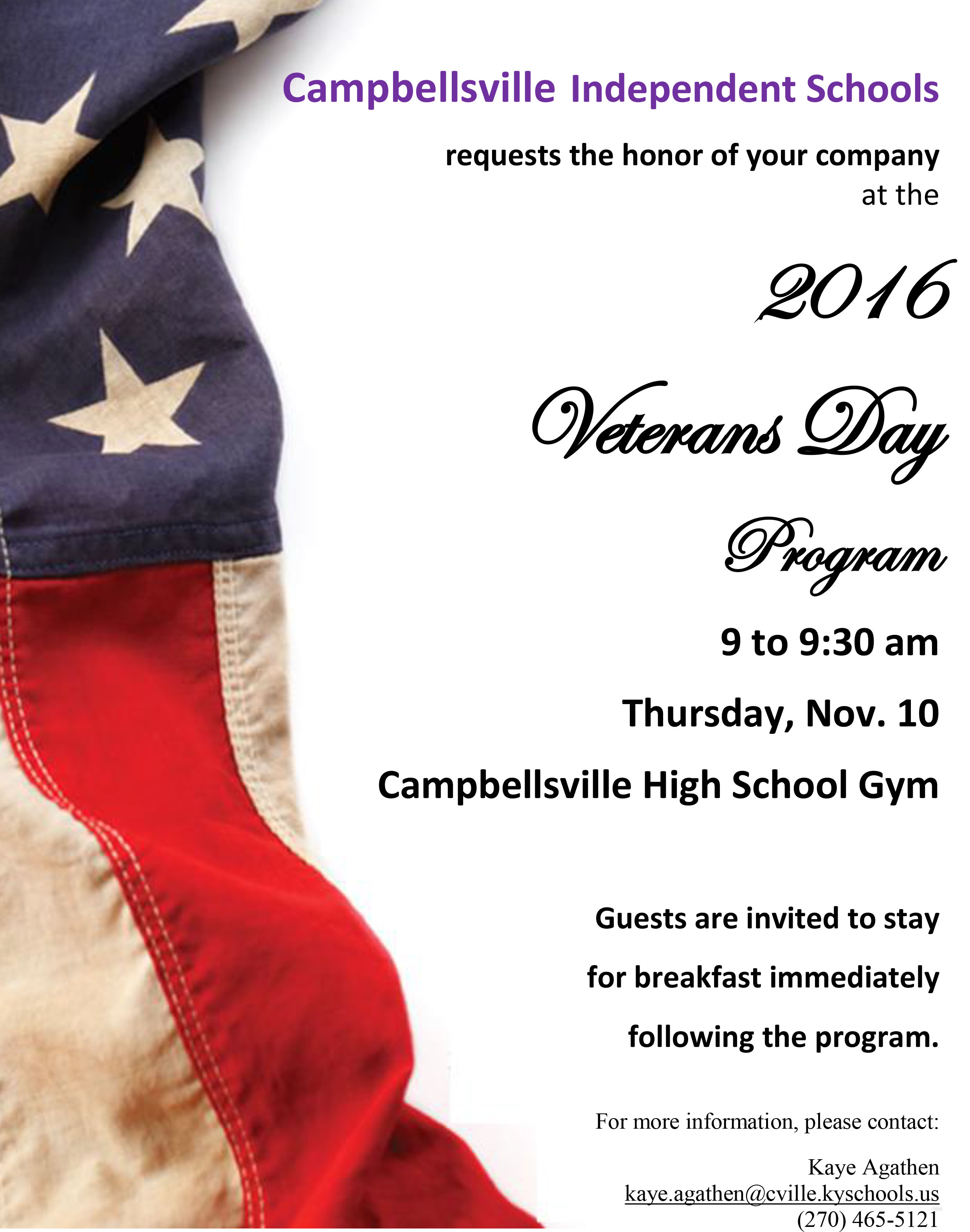 Campbellsville Independent Schools will host a Veterans Day program for local veterans and community members.  The ceremony will be on Thursday, Nov. 10, from 9 to 9:30 a.m. in the Campbellsville High School gym.