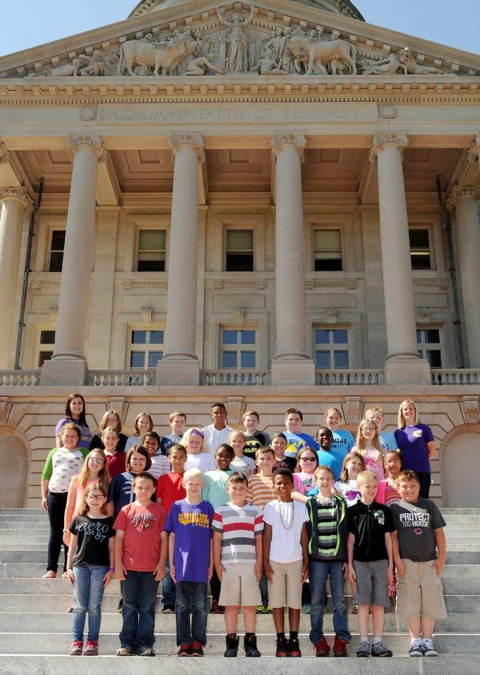 CMS fourth-graders in Samantha Coomer's and Maranda Wright's classes pose for a photo on the state capitol steps.