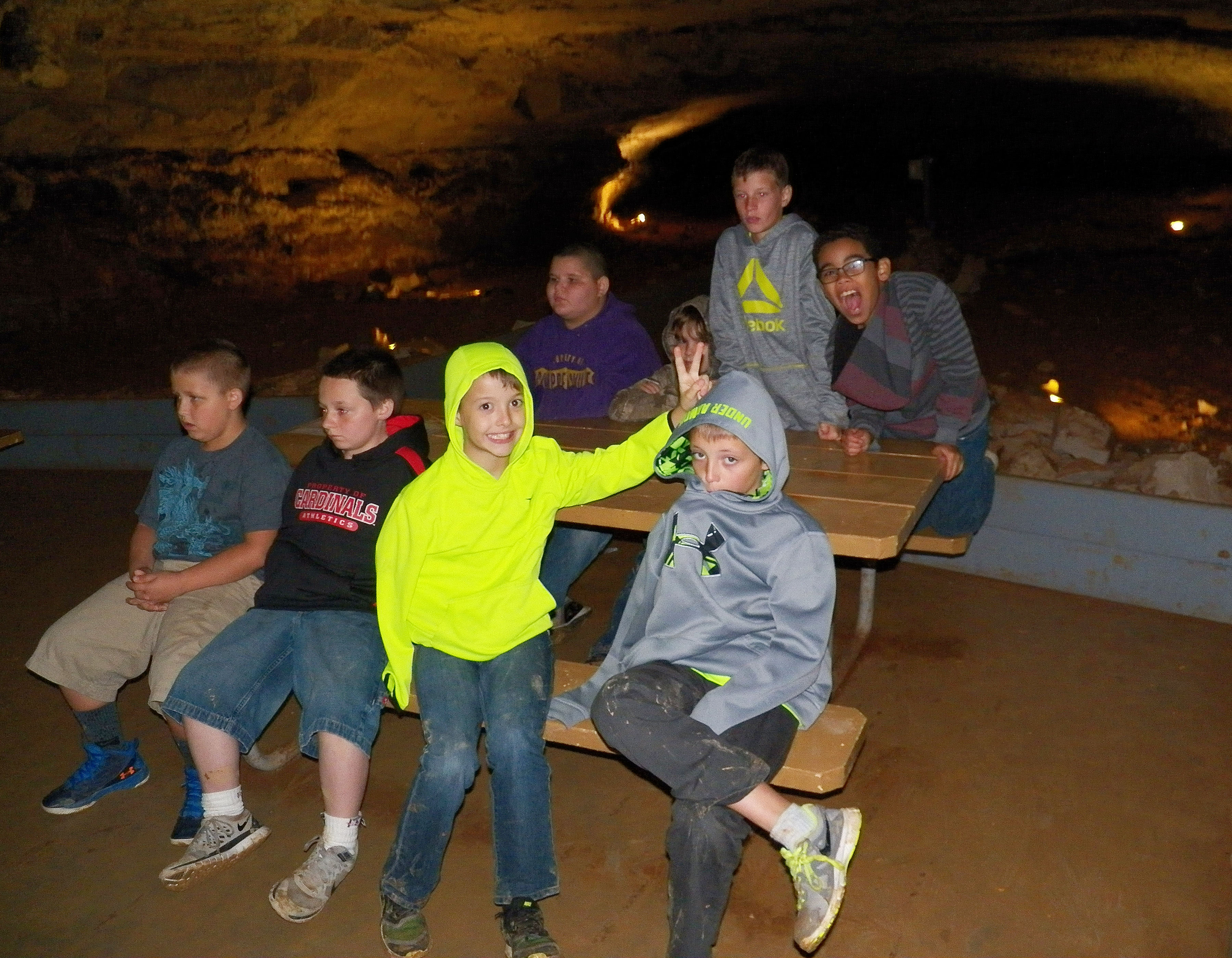 CMS fourth-graders learn about Mammoth Cave. From left, front, are Jacob Simpson, Chris Cox, Noah Skaggs and Jaxon Garrett. Standing in back are Rowan Petett, at left, and Gabriel Noyola.