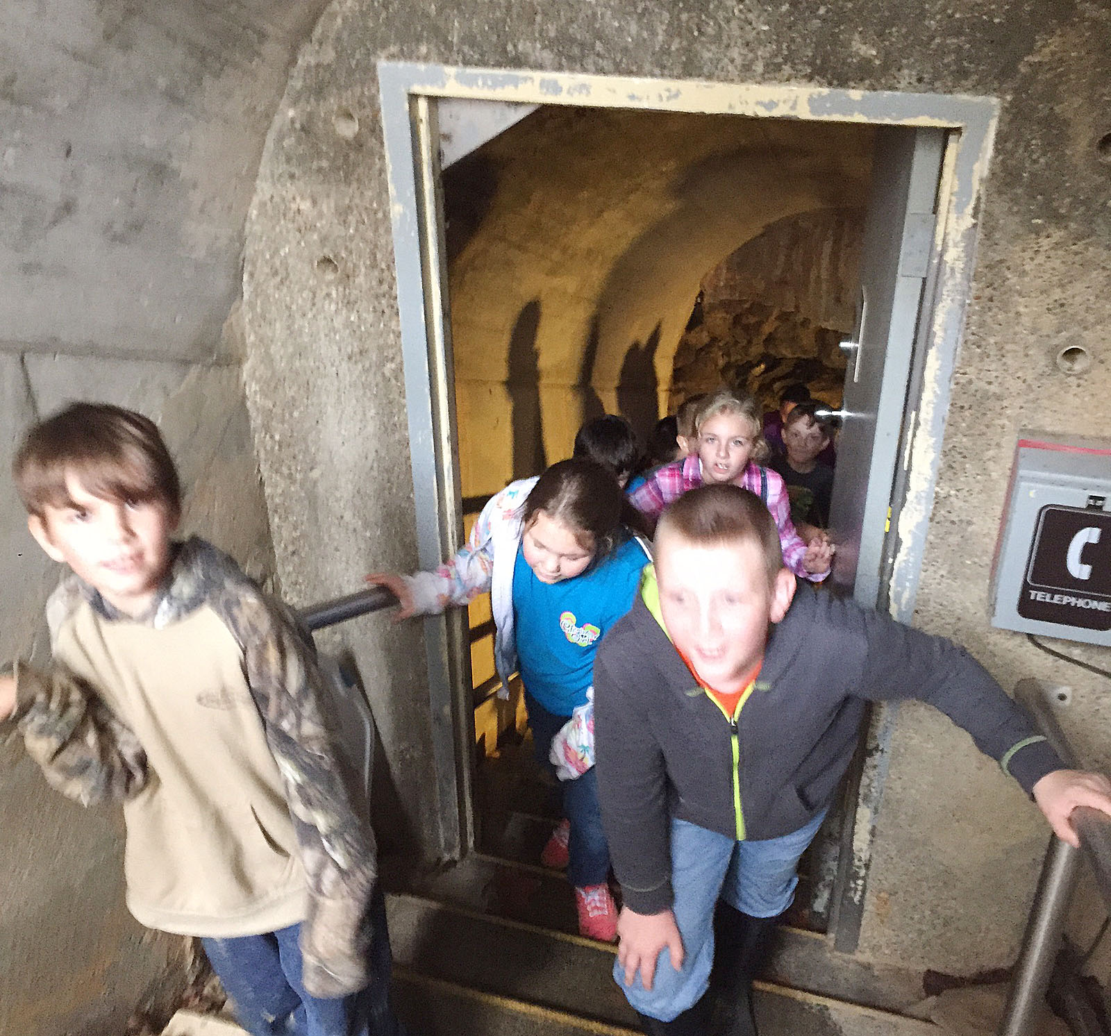 CMS fourth-graders walk around Mammoth Cave.