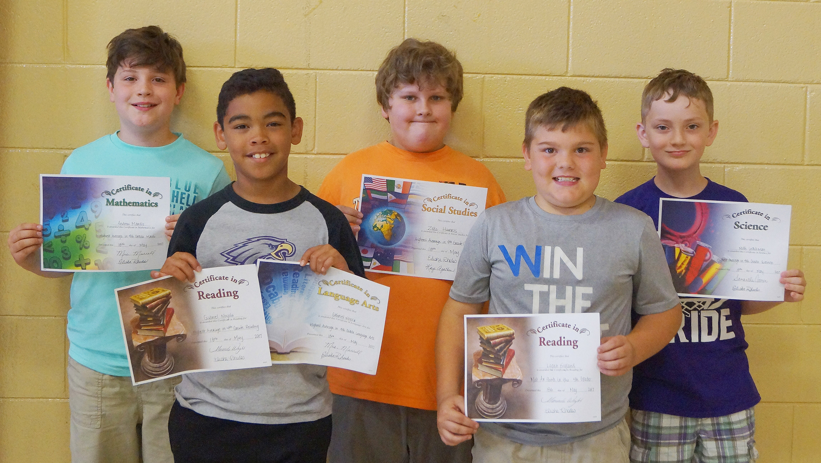 Fourth-grade subject award winners are, from left, Andrew Mardis, math; Gabriel Noyola, language arts and reading; Zeke Harris, social studies; Logan England, accelerated reader; and Noah Leachman, science.