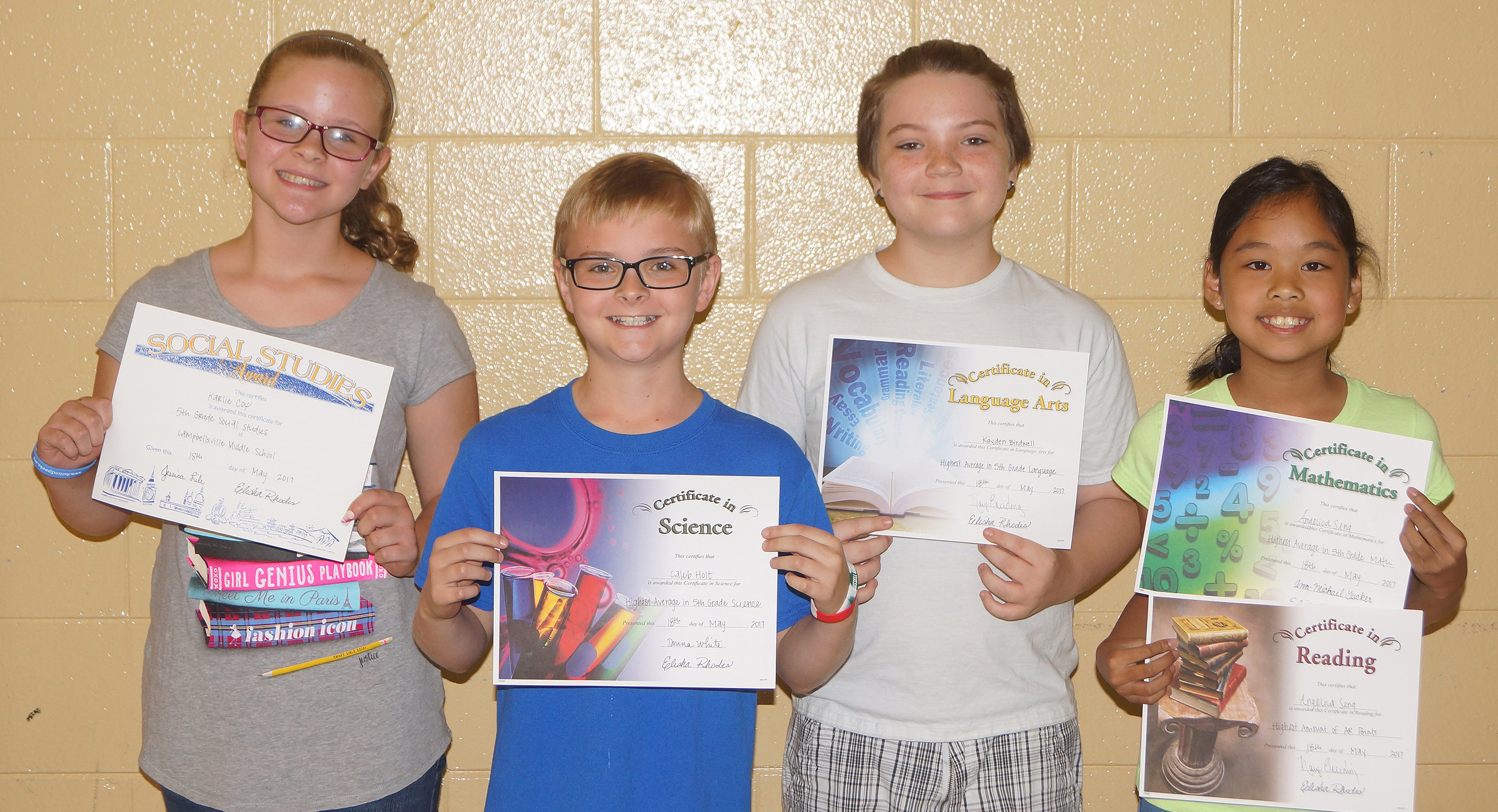 Fifth-grade subject award winners are, from left, Karlie Cox, social studies; Caleb Holt, science; Kayden Birdwell, language arts; and Angelica Seng, math and accelerated reader.