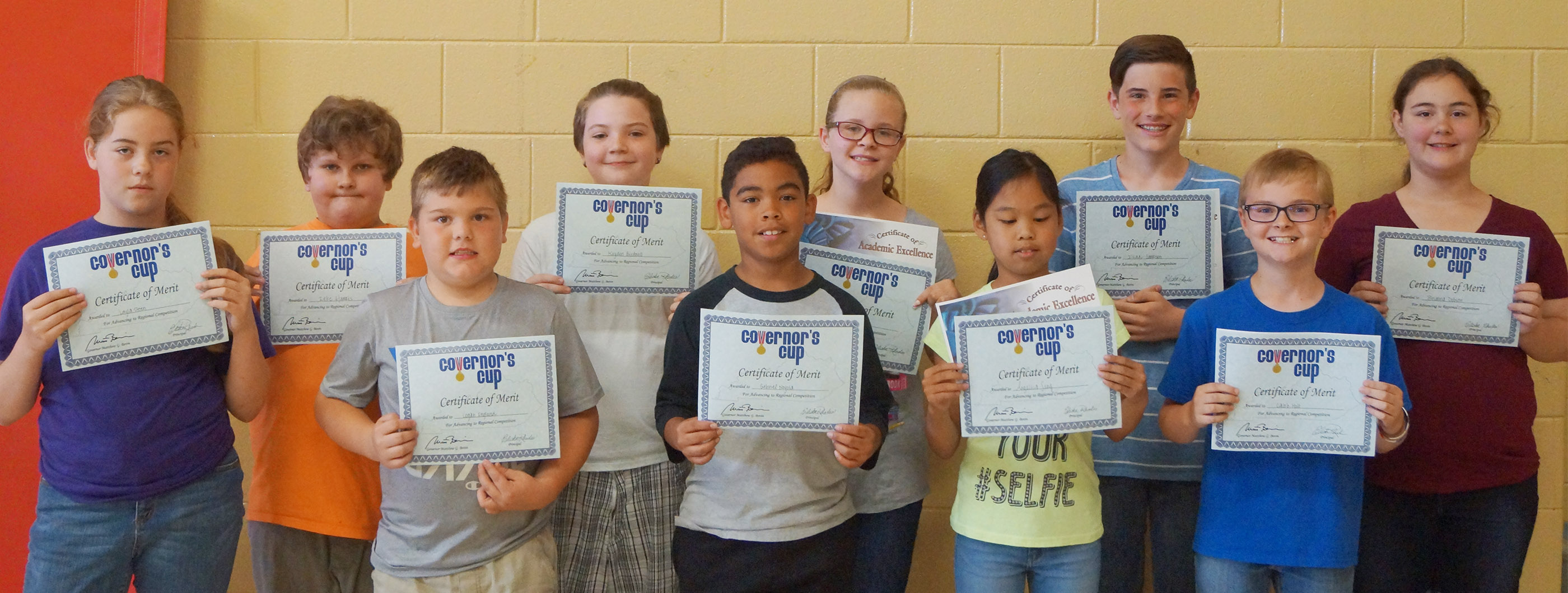 Academic team award winners are, from left, front, fourth-graders Logan England and Gabriel Noyola and fifth-graders Angelica Seng and Caleb Holt. Back, fifth-grader Layla Steen, fourth-grader Zeke Harris and fifth-graders Kayden Birdwell, Karlie Cox, Isaac Garrison and Brianna Dobson. Absent from the photo is fifth-grader Ryan Grubbs.