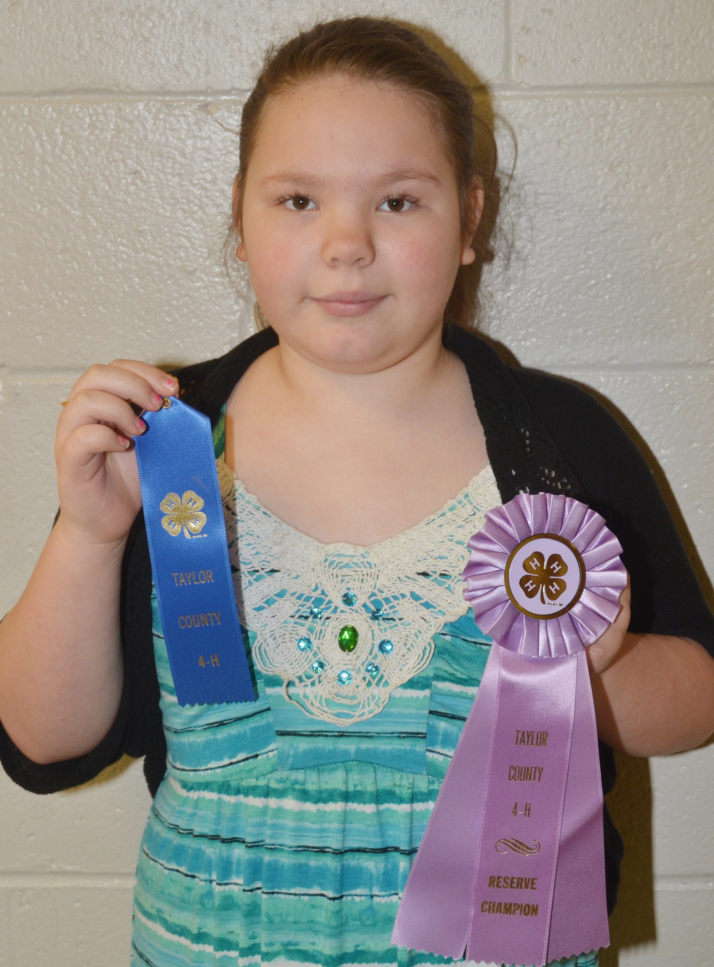 CMS fourth-grader Averi Perkins was named reserve champion in the 9-year-old category of this year's Taylor County 4-H Talk Meet.