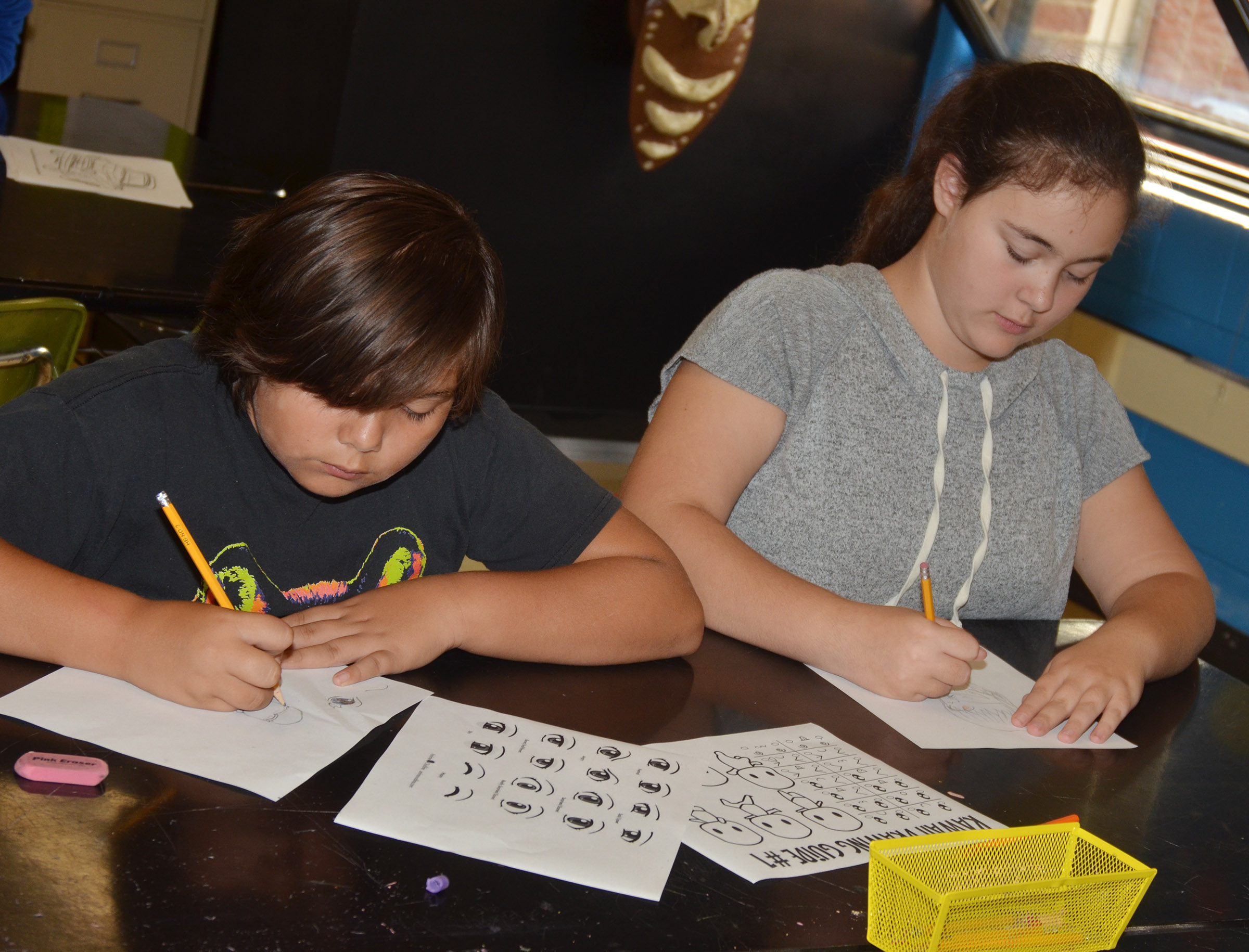 CMS sixth-graders Aaliyah Nunez, at left, and Brianna Dobson draw during their Sharpen the Saw time.