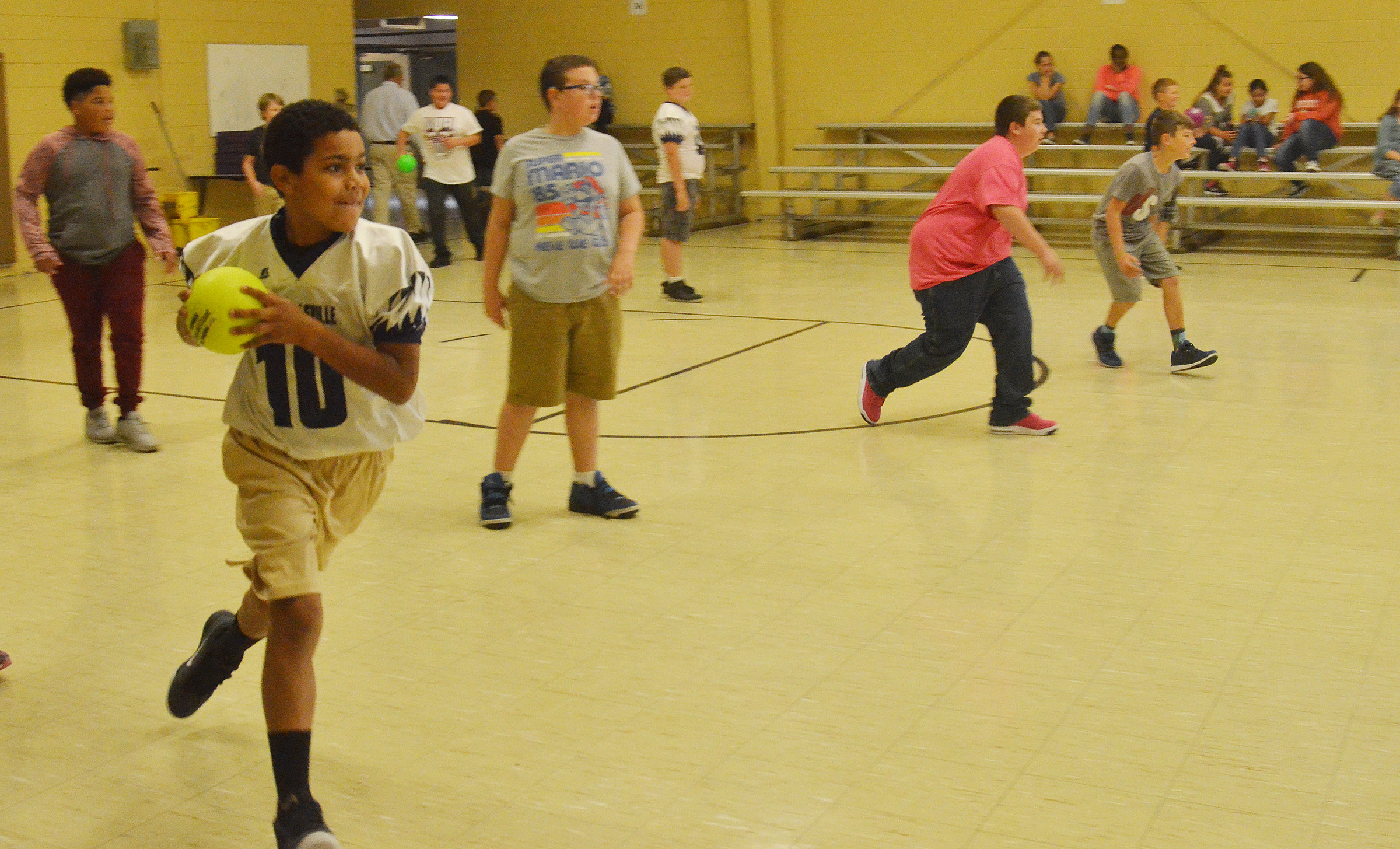CMS sixth-graders play dodgeball during their Sharpen the Saw time.