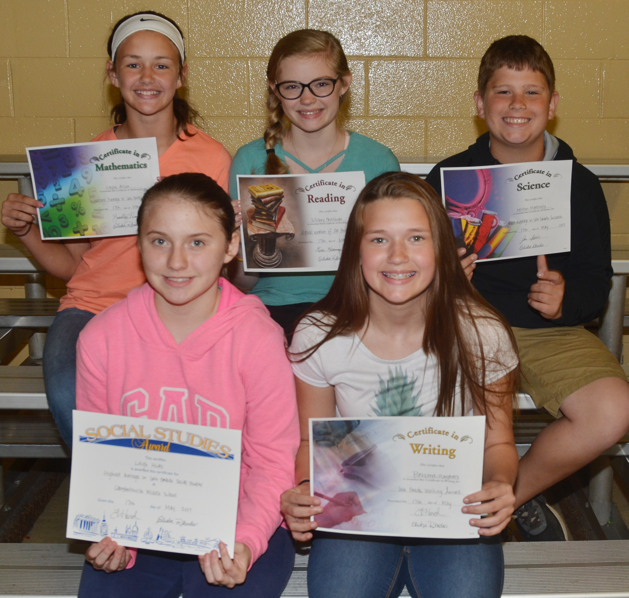 Sixth-grade subject award winners are, from left, front, Leigh Hicks, social studies; and BreAnna Humphress, writing. Back, Haylee Allen, math; Whitney Frashure, language arts and accelerated reader; and Weston Mattingly, science.
