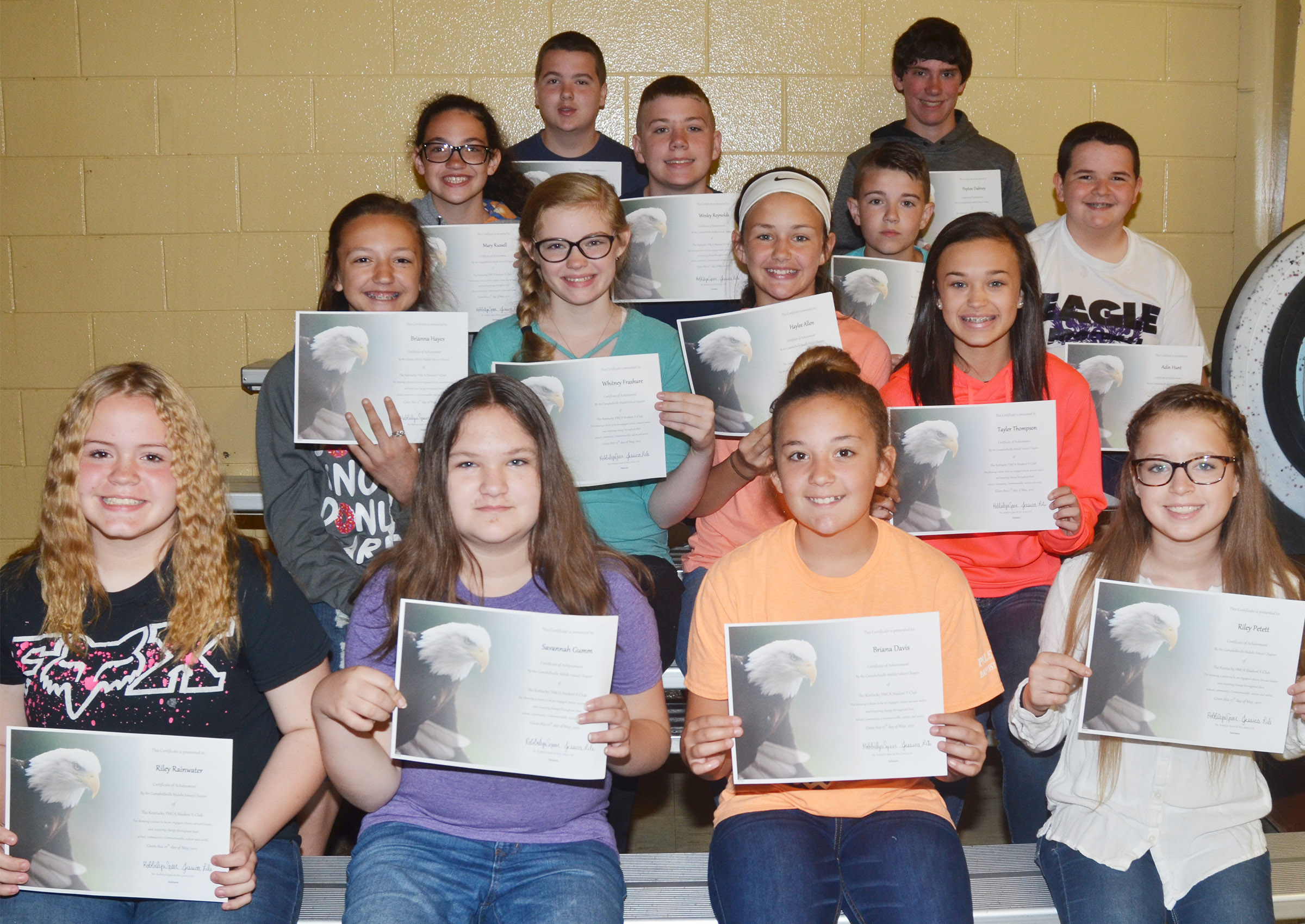 Y-Club awards went to, from left, front, seventh-graders Riley Rainwater and Savannah Gumm, sixth-grader Briana Davis and seventh-grader Rylee Petett. Second row, sixth-graders Bri Hayes, Whitney Frashure and Haylee Allen and seventh-grader Tayler Thompson. Third row, sixth-graders Mary Russell, Wesley Reynolds and Bryce Newton and seventh-grader Adin Hunt. Back, seventh-graders Jack Sabo and Peyton Dabney.