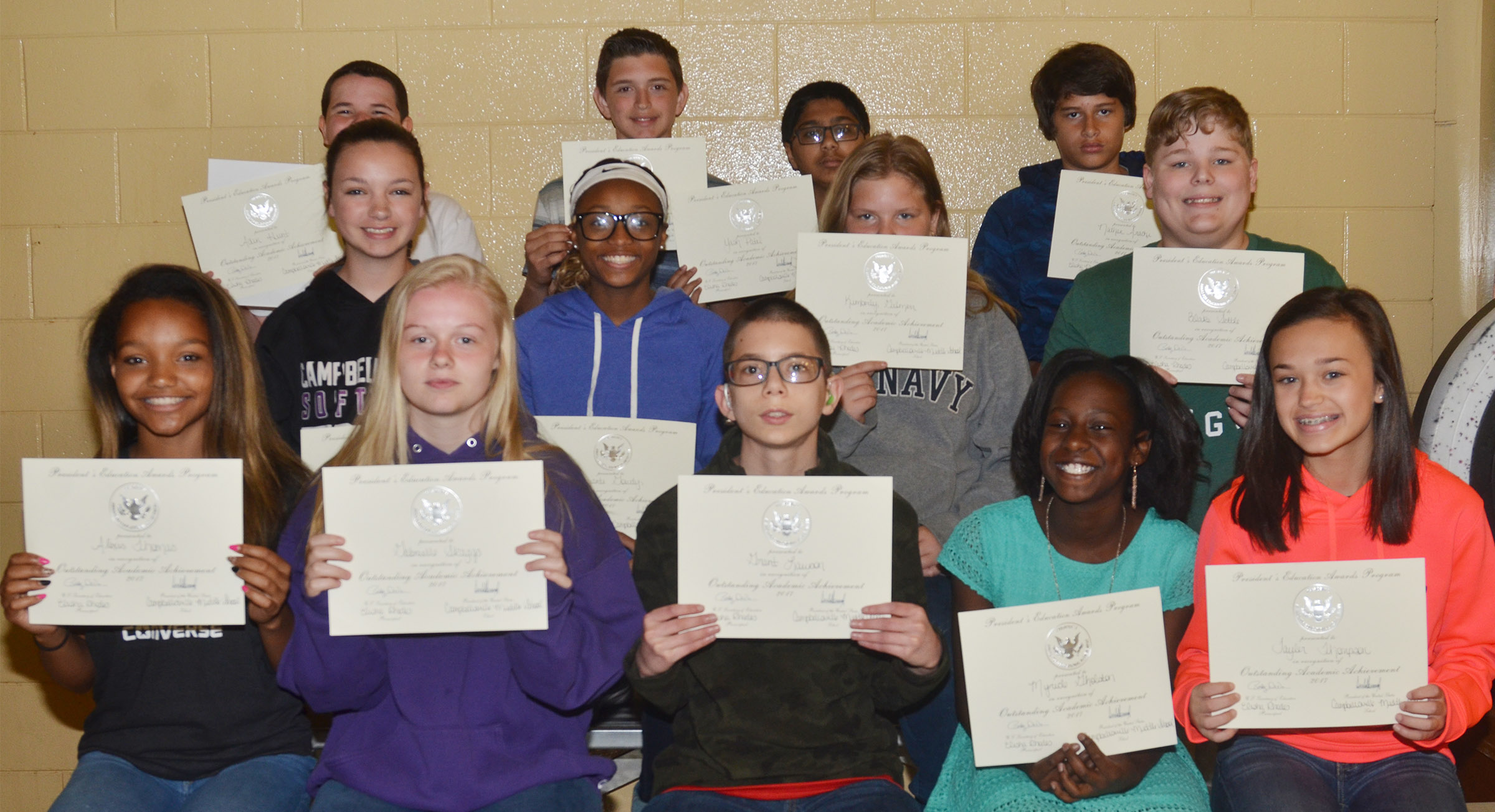 Seventh-grade president's award for educational achievement winners are, from left, front, Alexis Thomas, Gabby Skaggs, Grant Lawson, Myricle Gholston and Tayler Thompson. Second row, Karley Morris, Bri Gowdy, Kimberly Gilmerr and Blake Settle. Back, Adin Hunt, Caden Cowherd, Yash Patel and Nate Arachi.