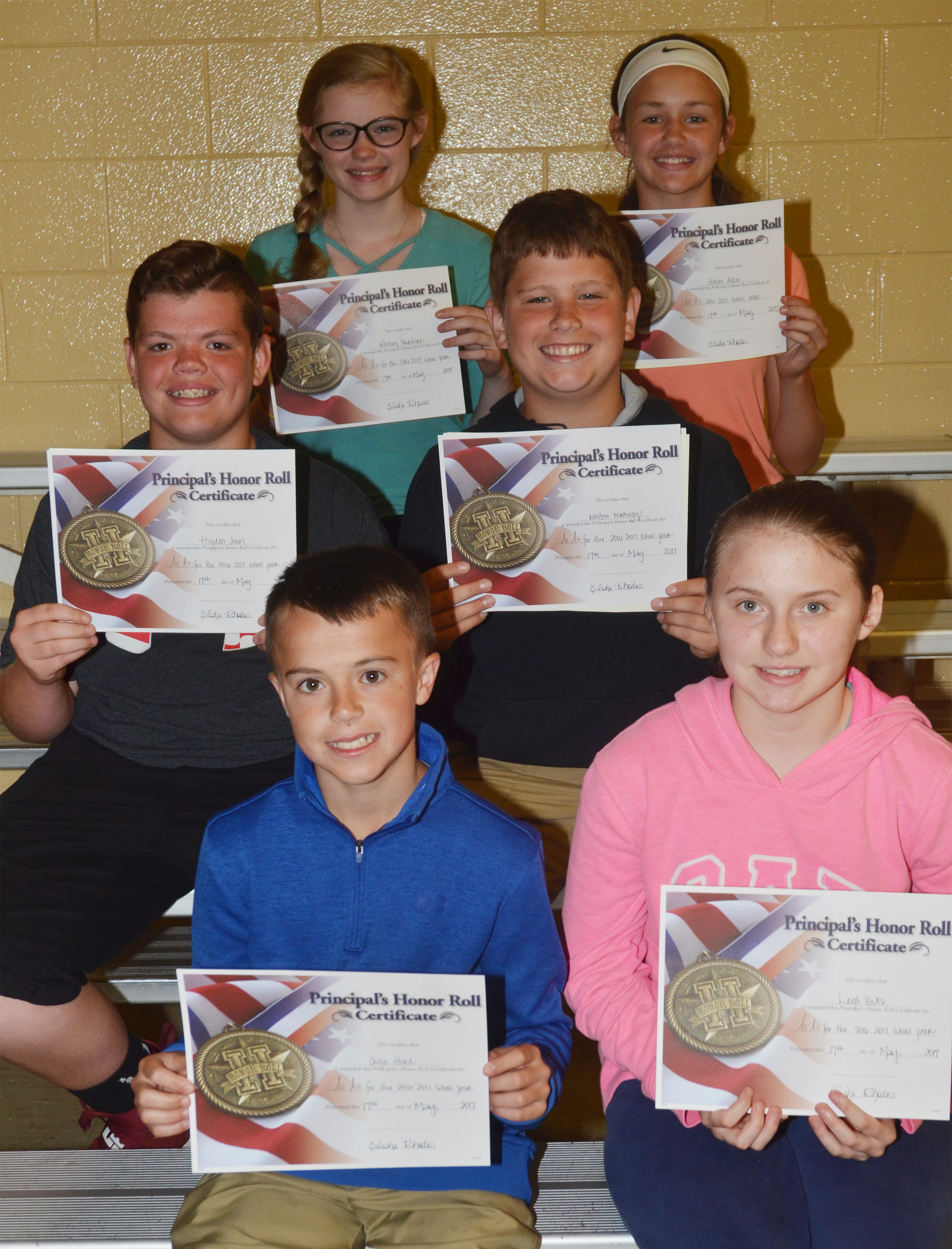 Sixth-grade principal's honor roll award winners are, from left, front, Chase Hord and Leigh Hicks. Second row, Hayden Jones and Weston Mattingly. Back, Whitney Frashure and Haylee Allen.