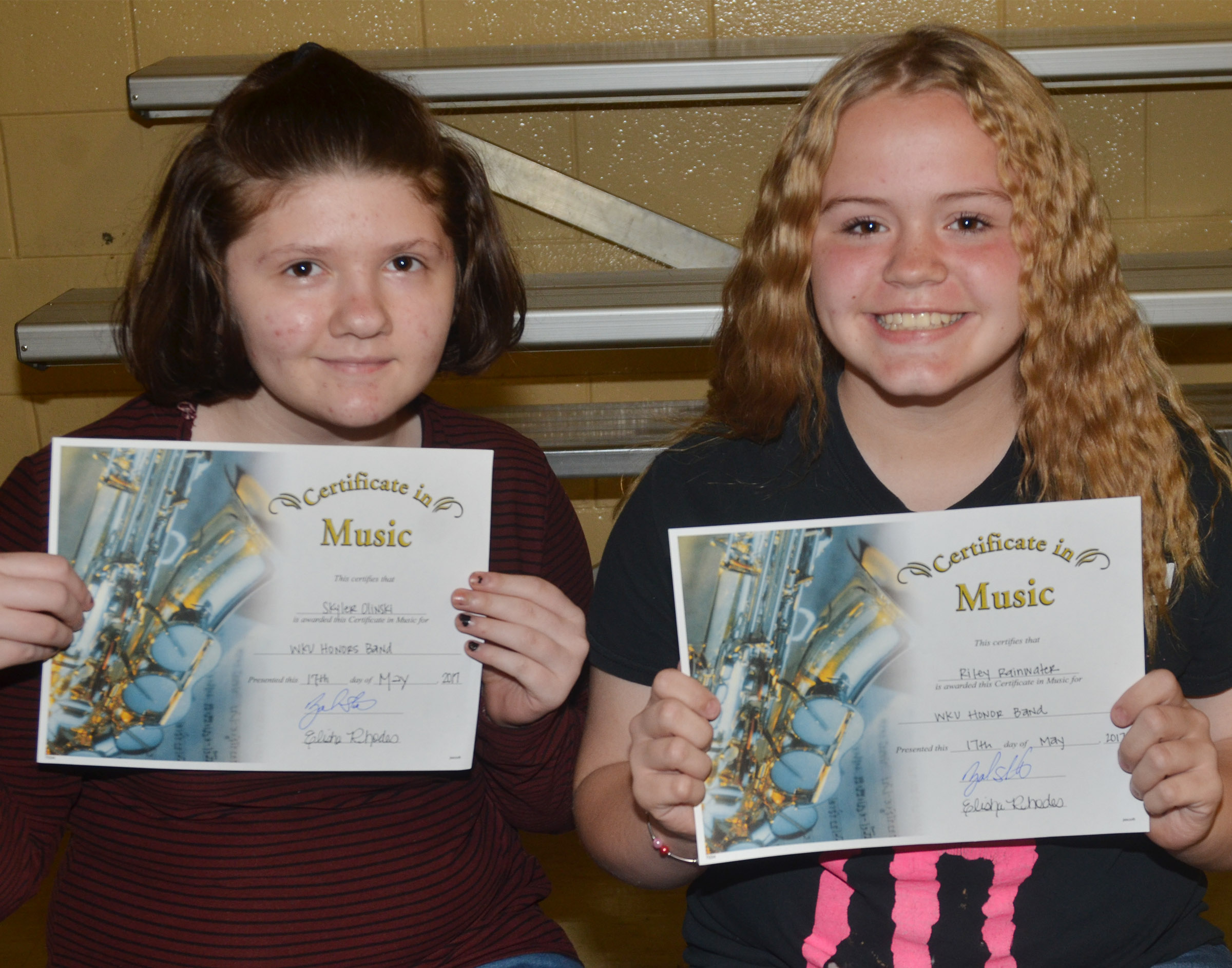 WKU honor band awards went to seventh-graders Skyler Olinski, at left, and Riley Rainwater.
