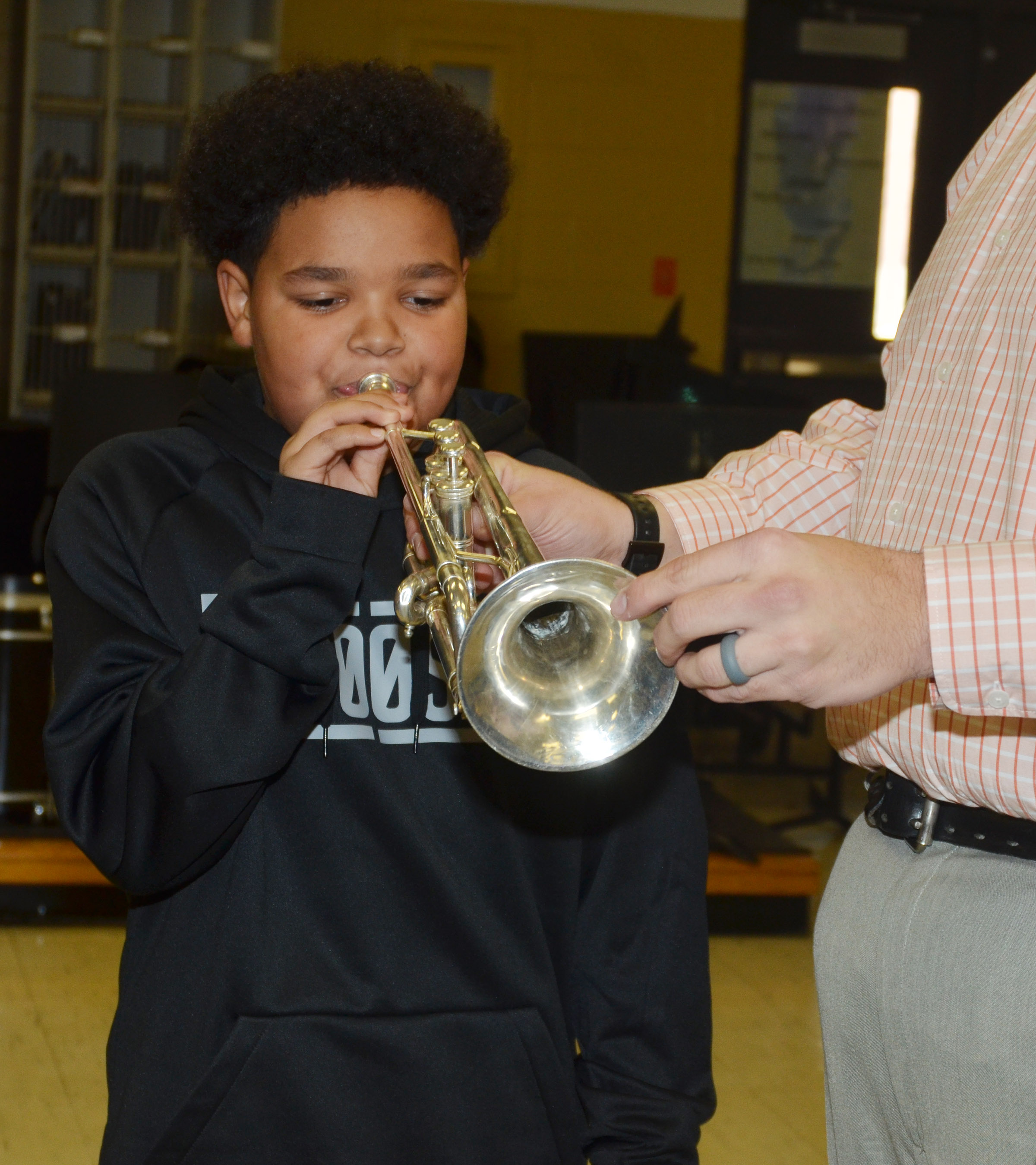 CMS eighth-grader Alex Lofton plays the trumpet.