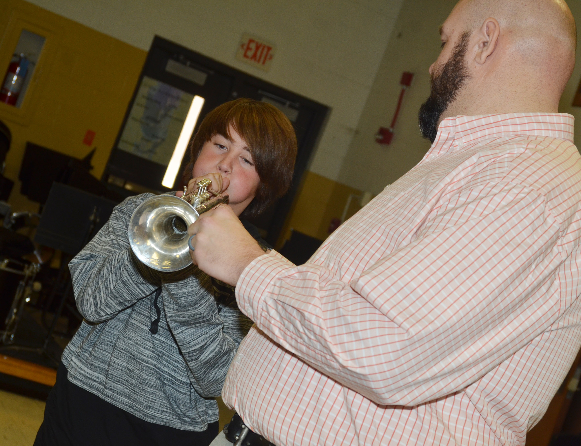 CMS seventh-grader David Walker plays the trumpet.