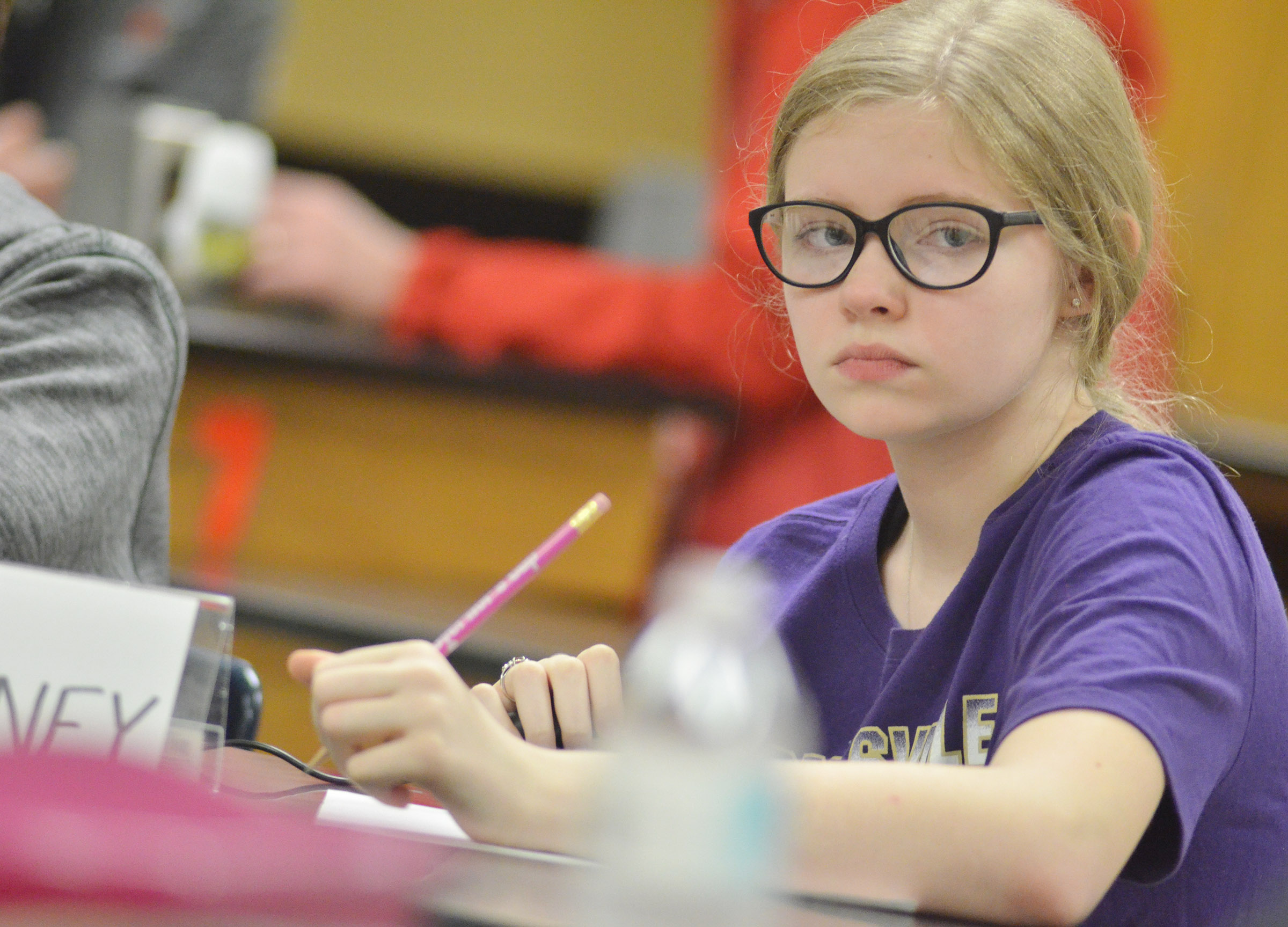 CMS sixth-grader Whitney Frashure listens to a quick recall question.