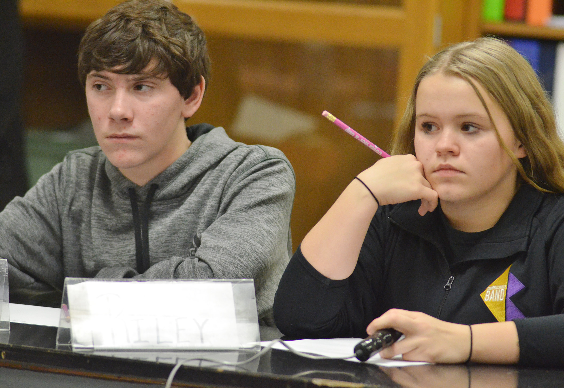 CMS seventh-graders Peyton Dabney, at left, and Riley Rainwater listen to a question during a quick recall match.