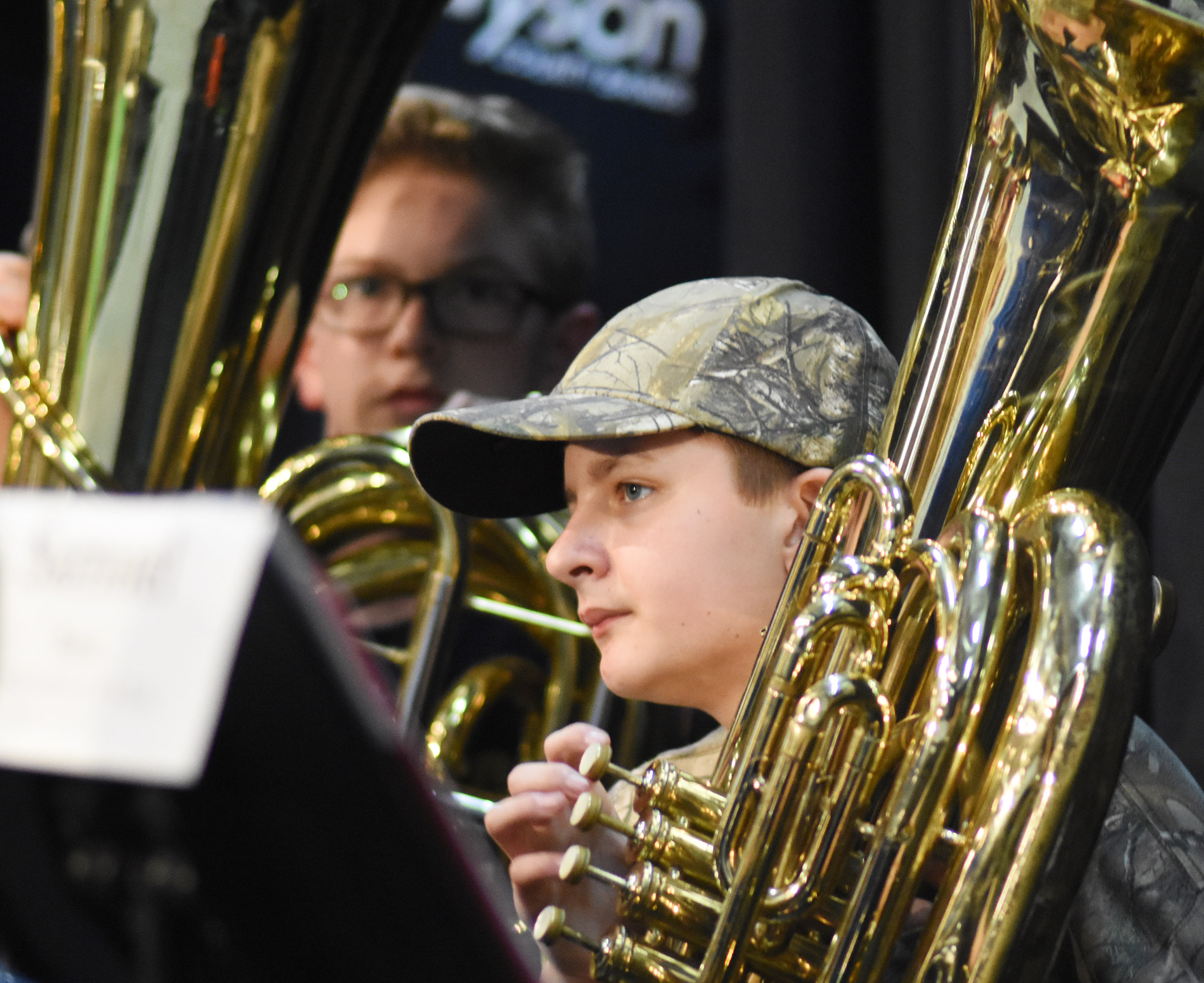 CMS seventh-grader Tyler Booth plays tuba with the KMEA all-district band.