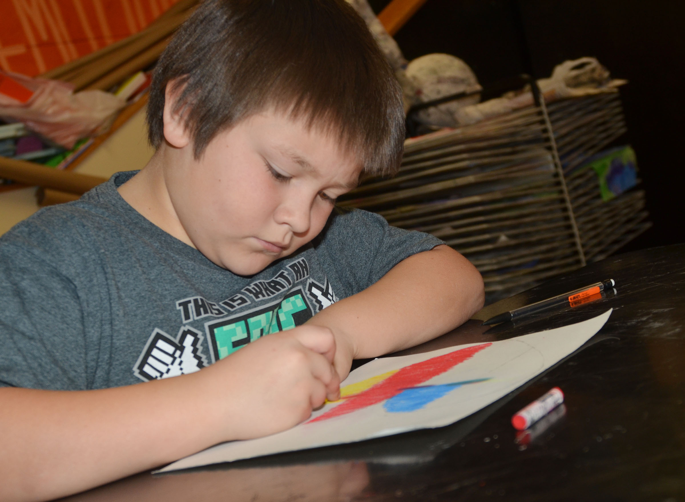 CMS fifth-grader Leo Lamer colors his heart.