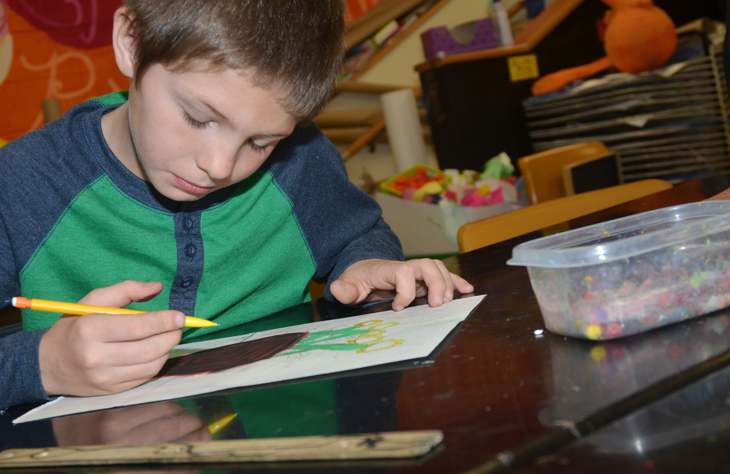 CMS fourth-grader Daniel Hellard draws sunflowers.