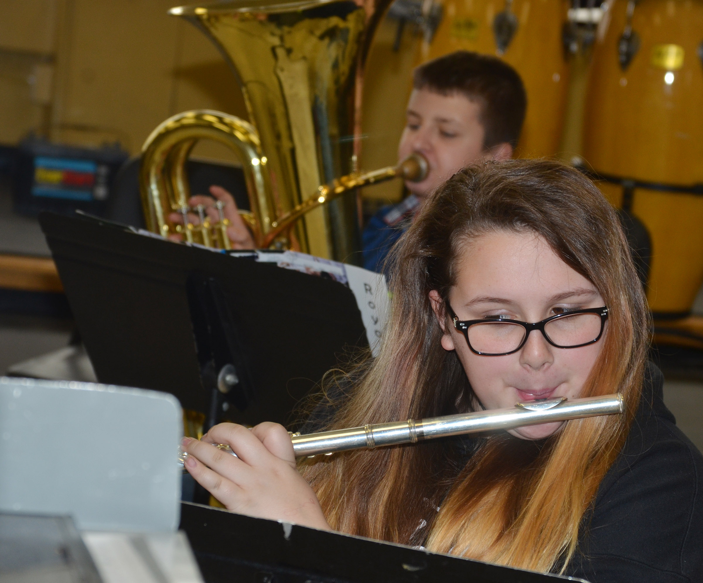 CMS seventh-grader Kadence Houk plays the flute.