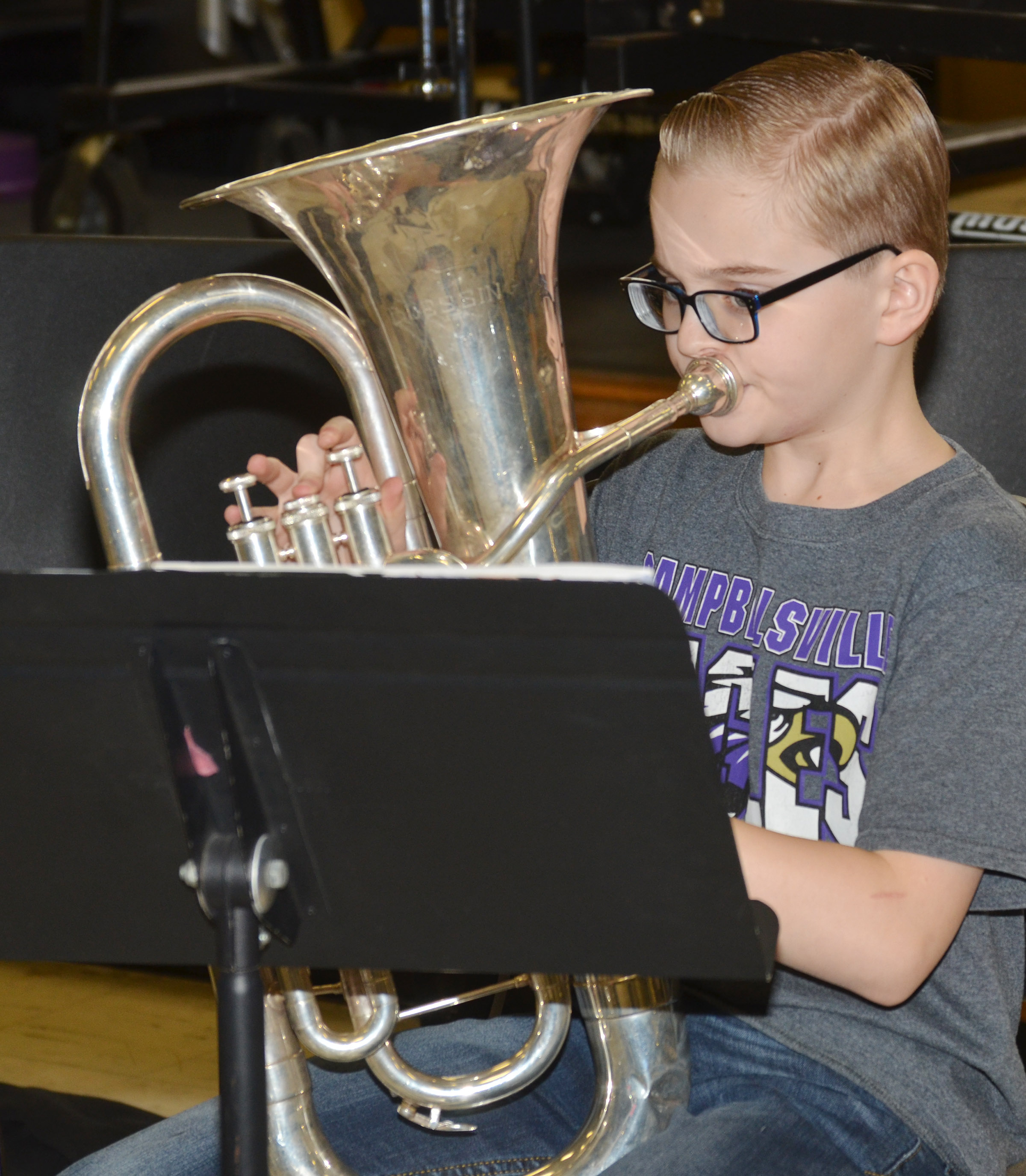 CMS sixth-grader Caleb Holt plays the baritone.