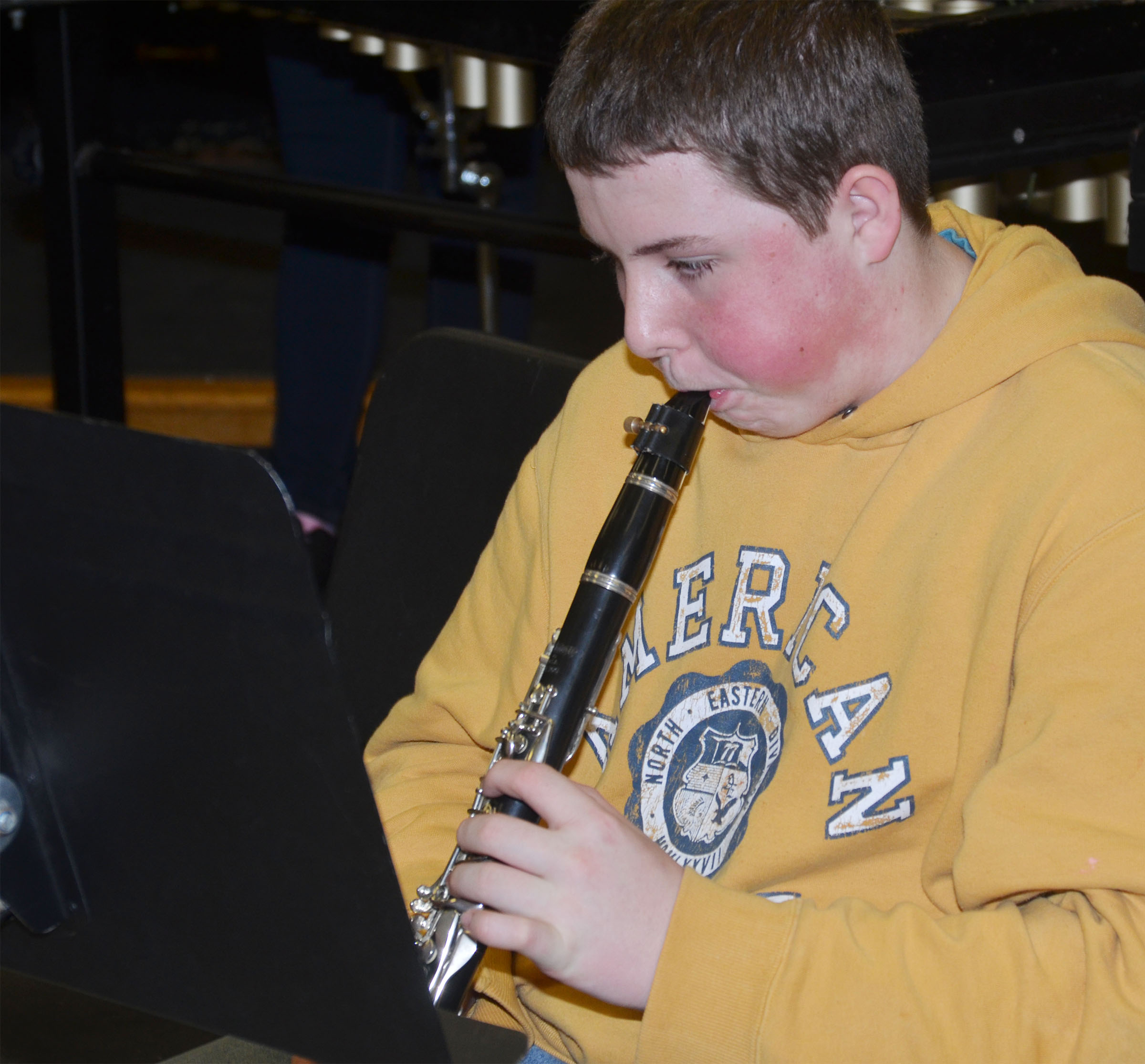 CMS eighth-grader Alex Howard plays clarinet.