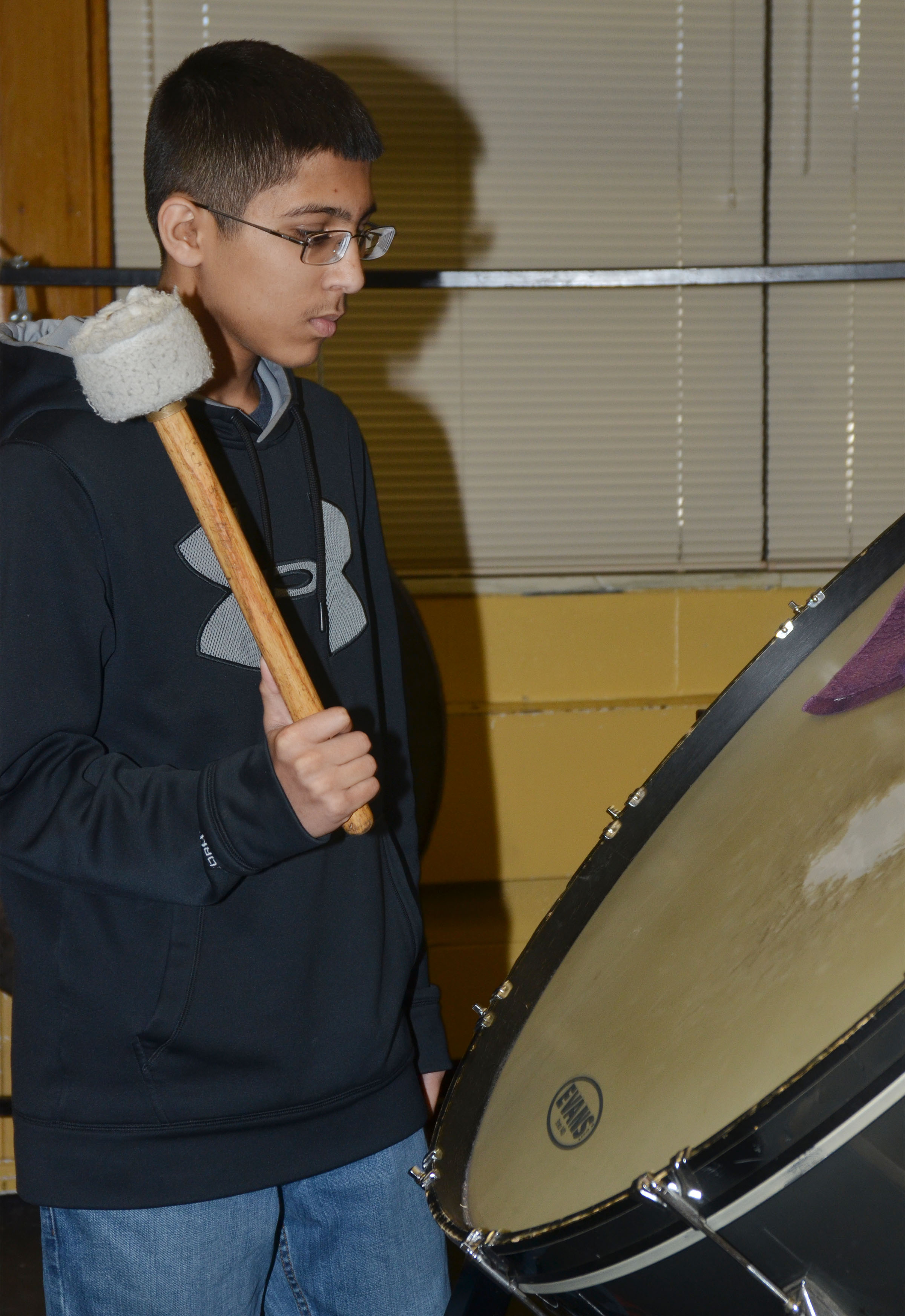 CMS eighth-grader Raj Patel plays the bass drum.