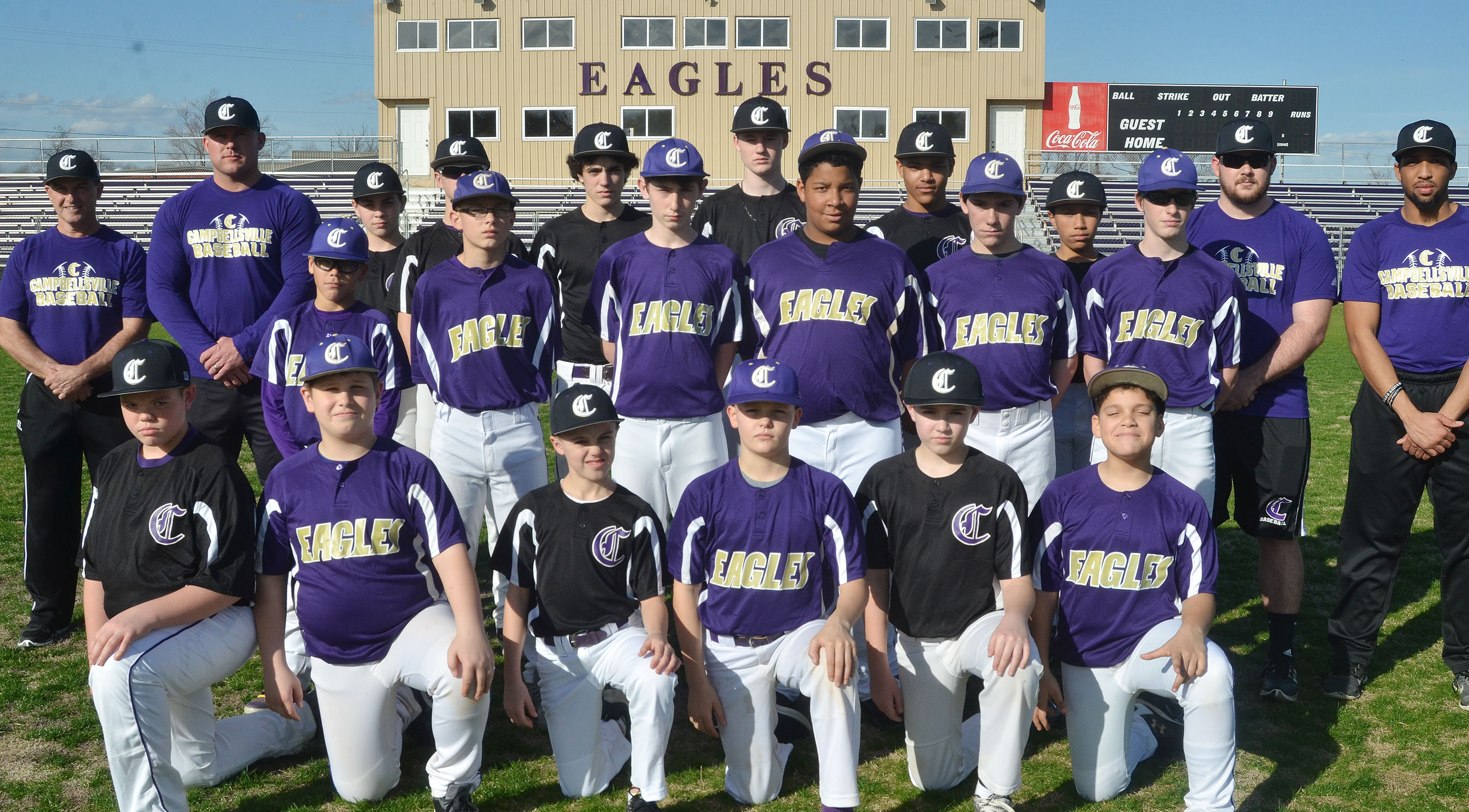 This year's CMS baseball team includes, from left, front, sixth-graders Hayden Jones, Weston Mattingly, Chase Hord, Konner Forbis, Bryce Newton and Kaydon Taylor. Second row, seventh-graders Logan Phillips, Jarred Mays, Waylon Franklin, Bryson Karr, Peyton Dabney and Seth Hash. Back, coaches Lynn Kearney and Daniel Forbis, eighth-graders Clark Kidwell, Blase Wheatley, Kameron Smith, Tristin Faulkner, Reggie Thomas and Jastyn Shively and coaches Brett Lowell and George Boyd.