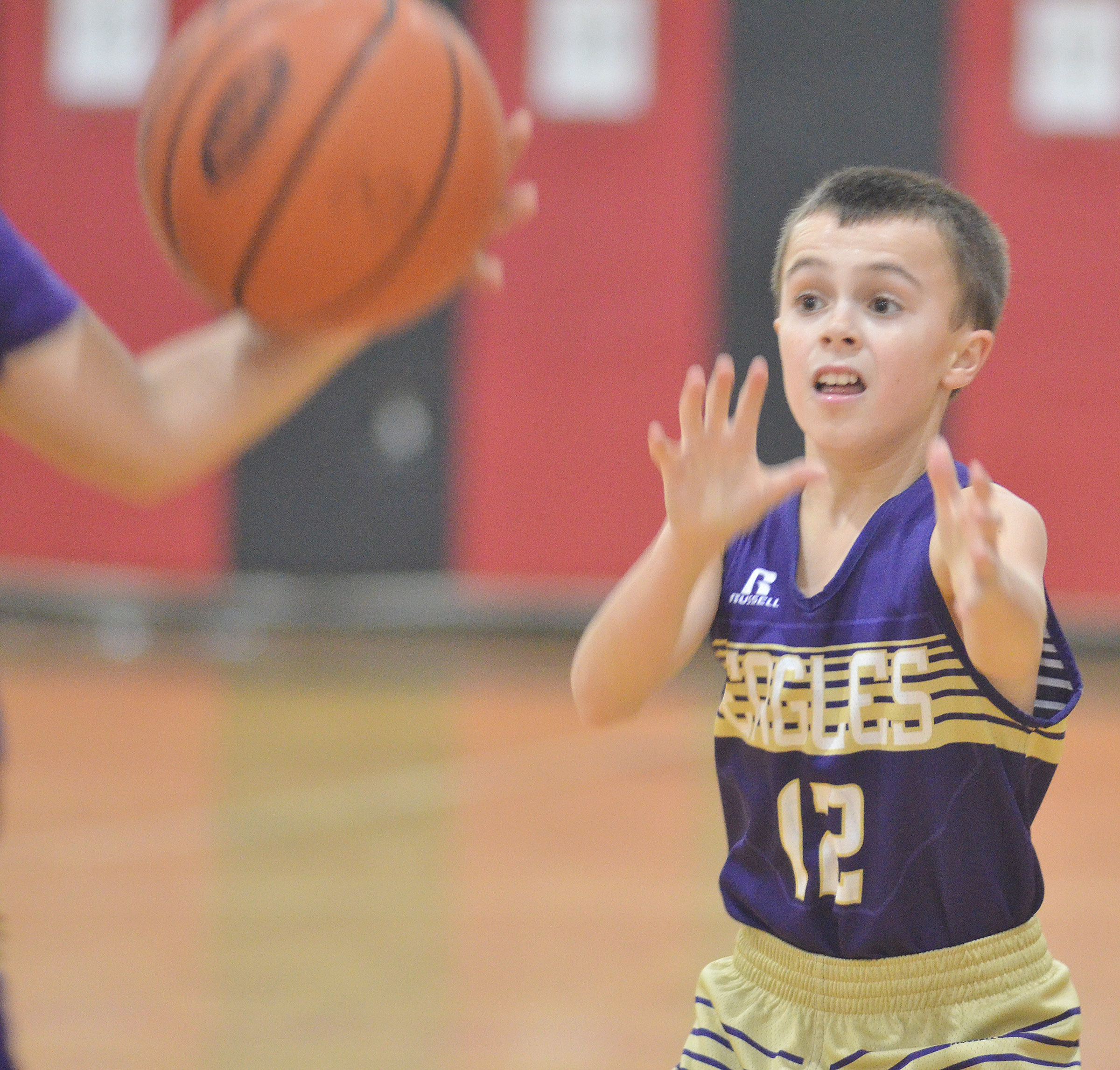 CMS sixth-grader Chase Hord calls for the ball.