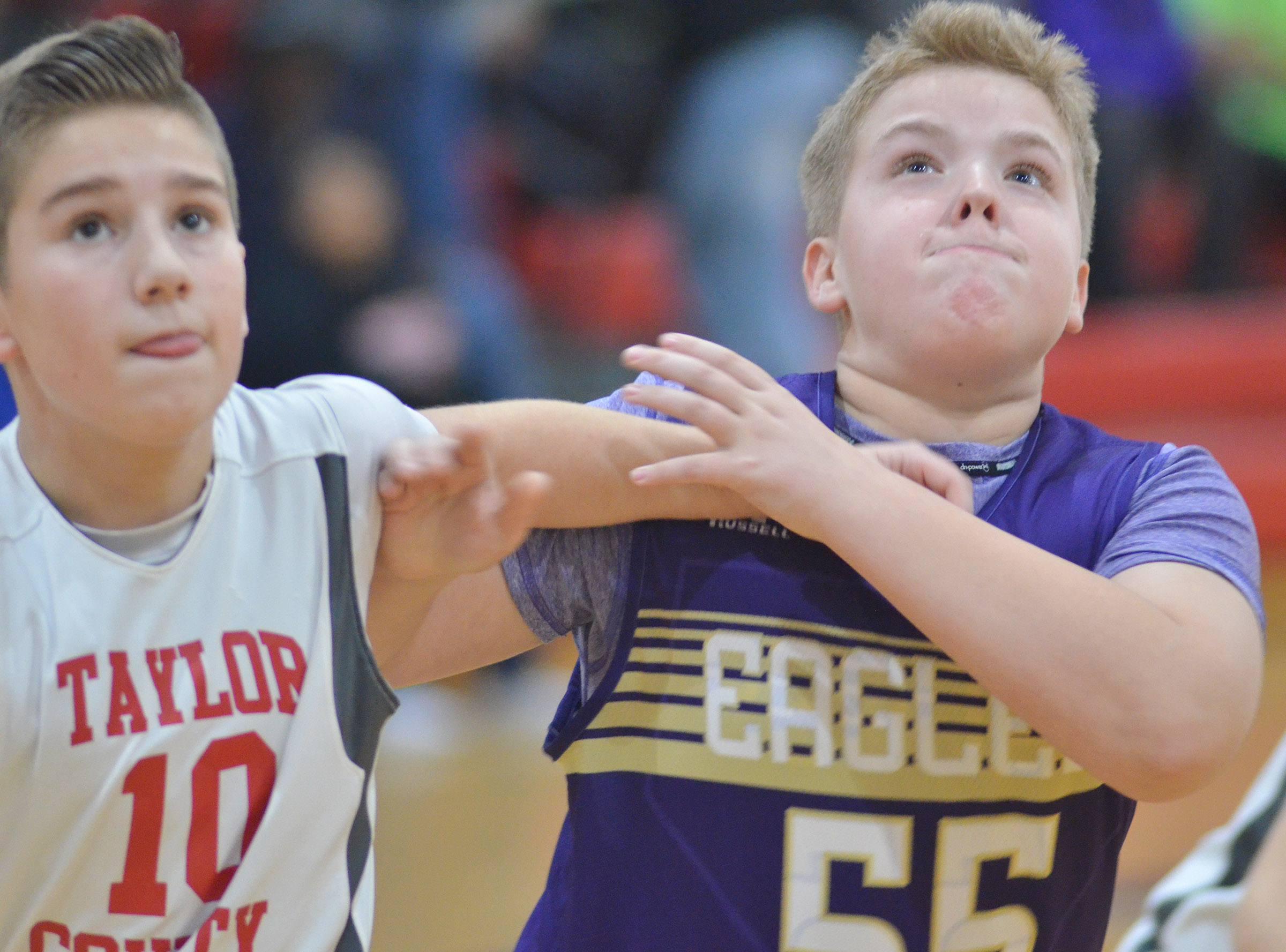 CMS fifth-grader Ryan Grubbs looks for a rebound.