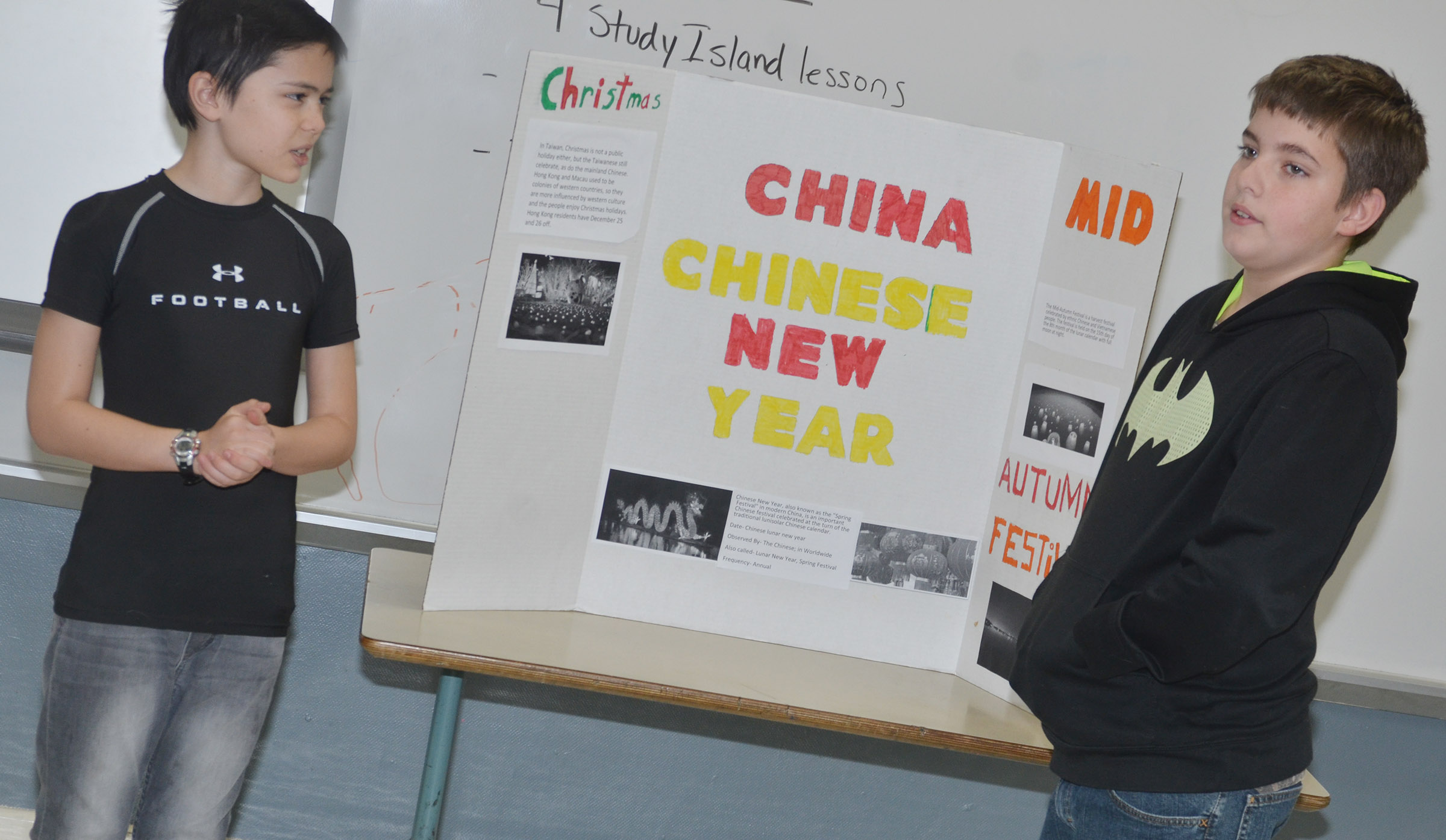 CMS sixth-graders Isaac Billeter, at left, and Ashton Davis present about holiday traditions in China.