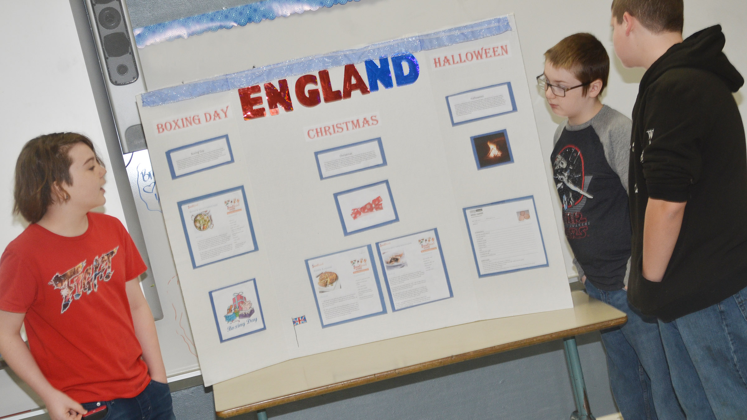 From left, CMS sixth-graders Kayden Birdwell, Sully Streeval and Johnathon Foster present about holiday traditions in England.