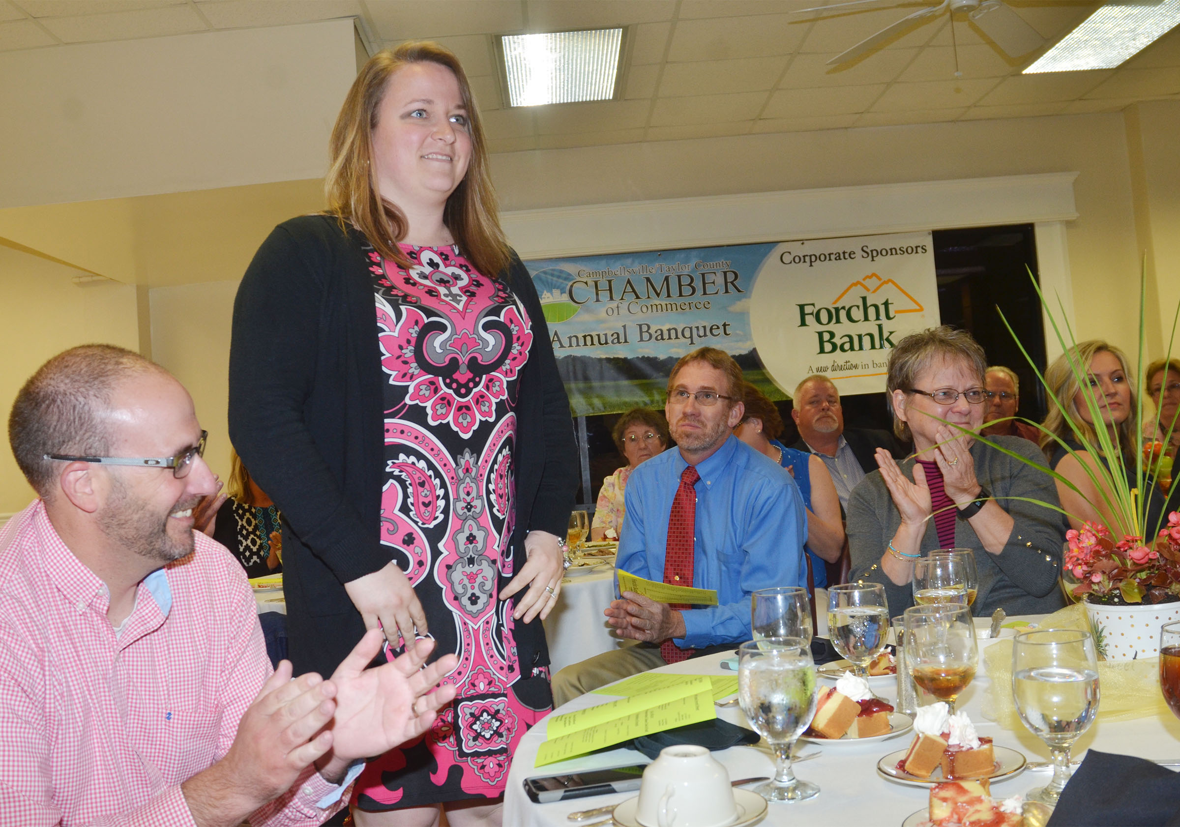 Katie Campbell, an exceptional child educator at CMS, is one of four teachers nominated for this year's Campbellsville/Taylor County Chamber of Commerce Educator of the Year award. The nominees were honored at the Chamber's annual banquet on Thursday, April 27.