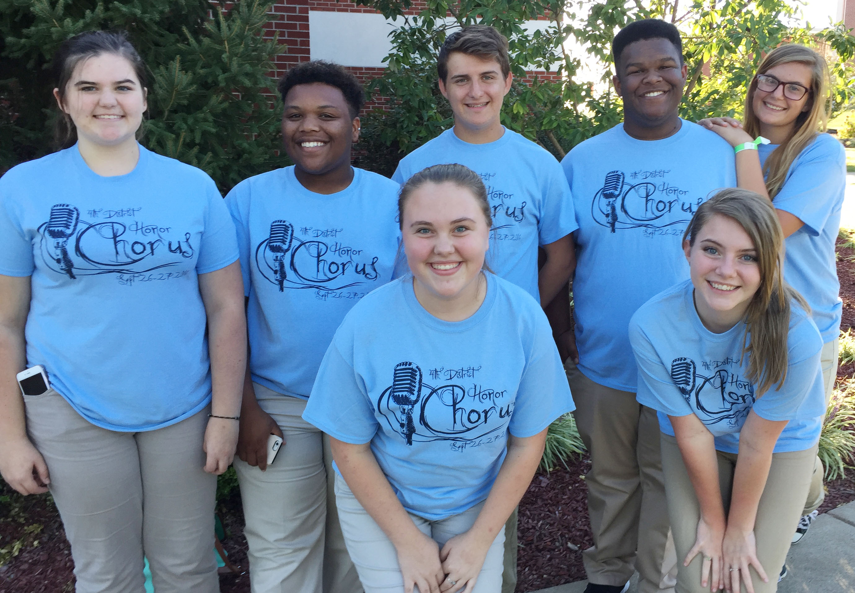 CHS students participating in the senior high all-district choir are, from left, front, junior Haley Fitch and sophomore Hayley Stapleton. Back, juniors Vivian Brown, Darius Wright and Austin Fitzgerald, sophomore Jeremiah Jackson and junior Tiffany Kane.