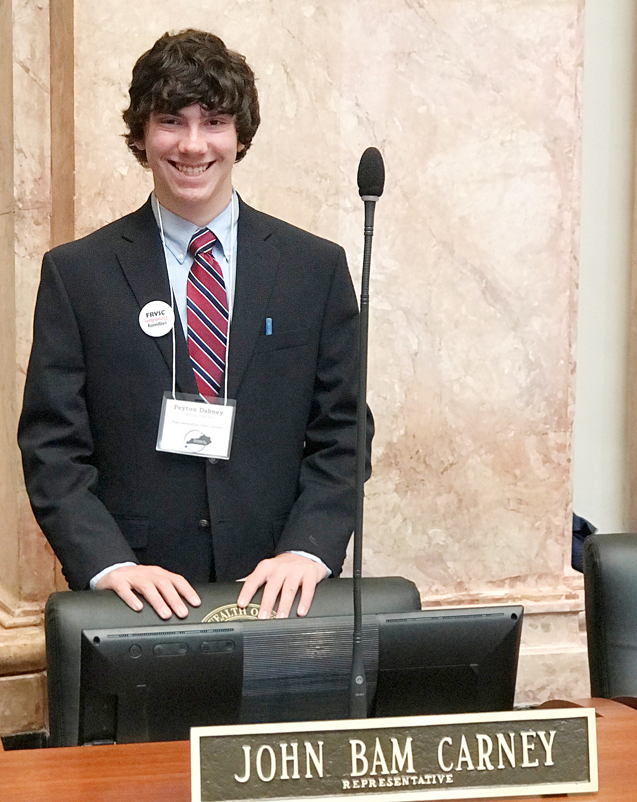 Campbellsville Middle School eighth-grader Peyton Dabney recently served as a legislative page in the House of Representative.