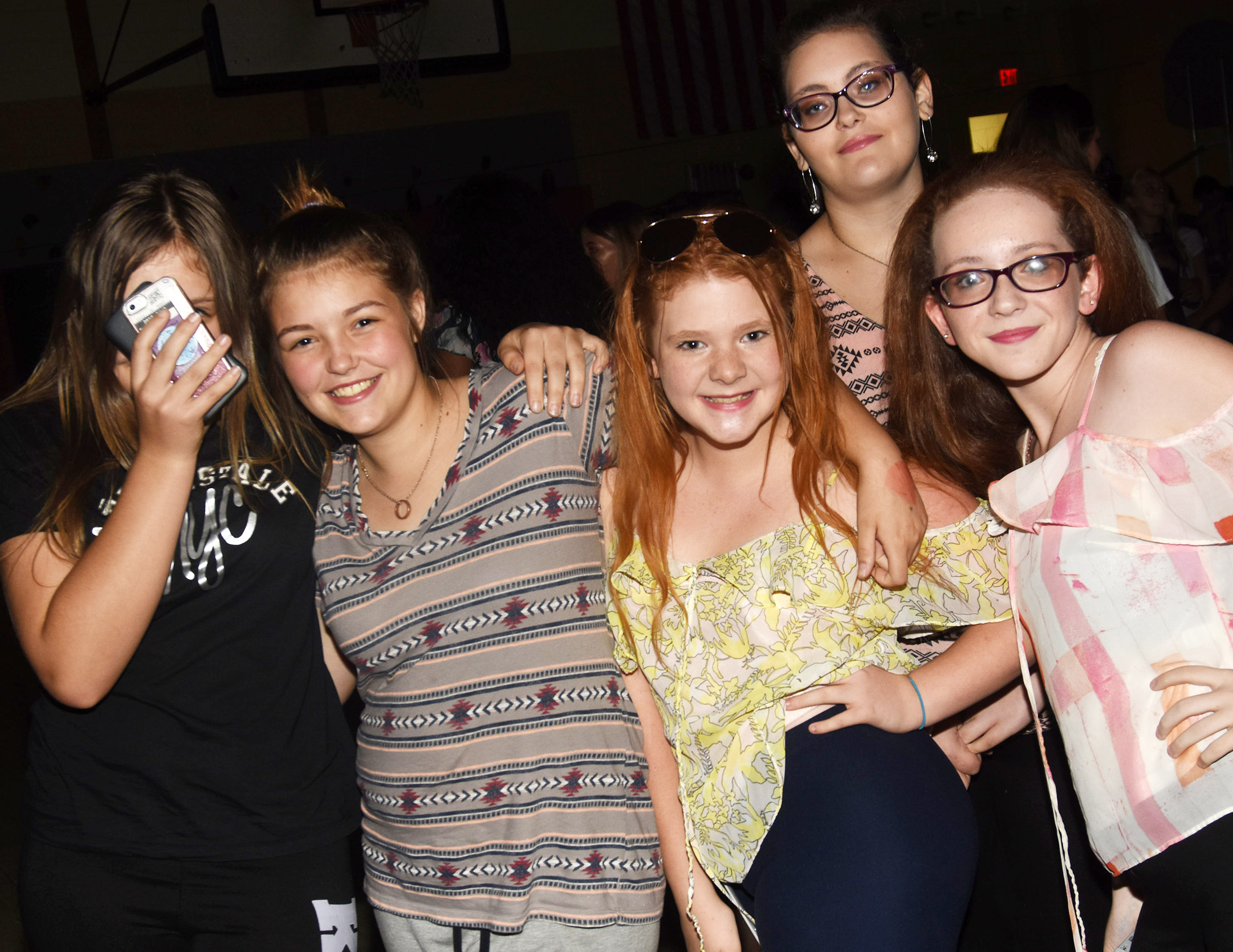 CMS students have fun at the dance. From left are seventh-graders Grace Tungate, Angel Walker, Chloe Motheral, Jasper Wright and Nikki Wright.
