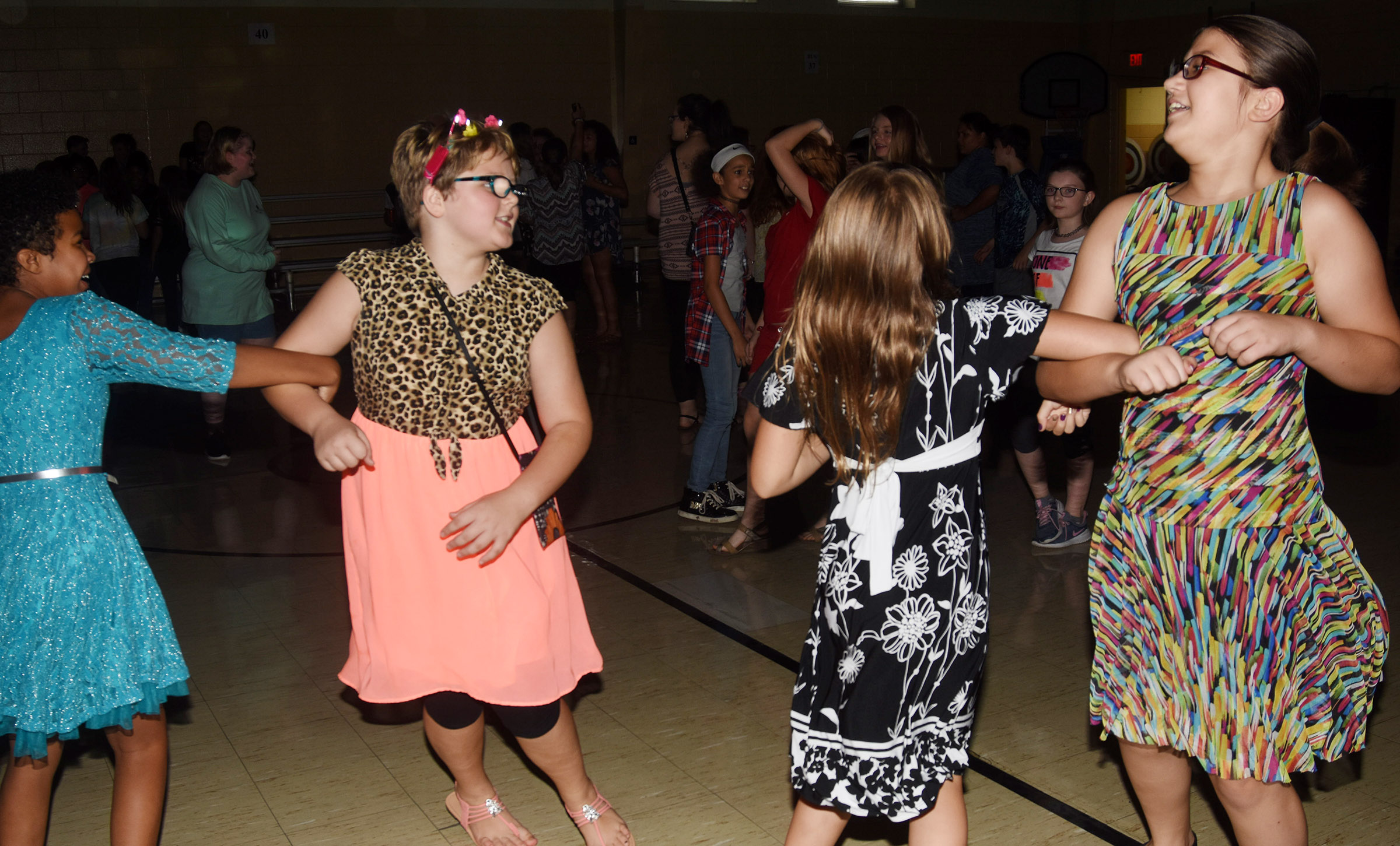 CMS sixth-graders, from left, Serenity Mings, Mellany Parker, Ellie Wise and Kylee Sowders dance.